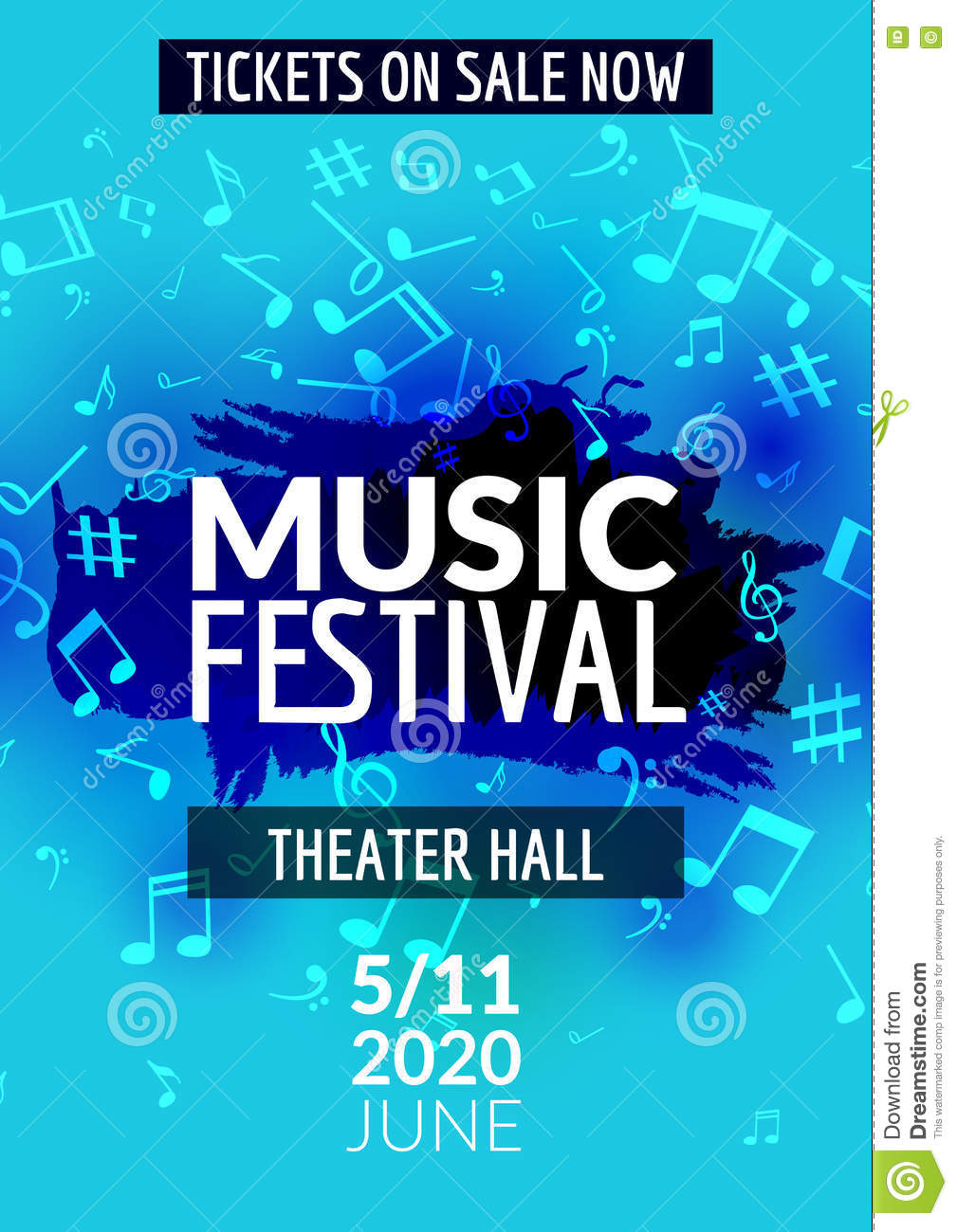 Poster design notes - Colorful Concert Design Festival Flyer Music Musical Poster Template Vector Note