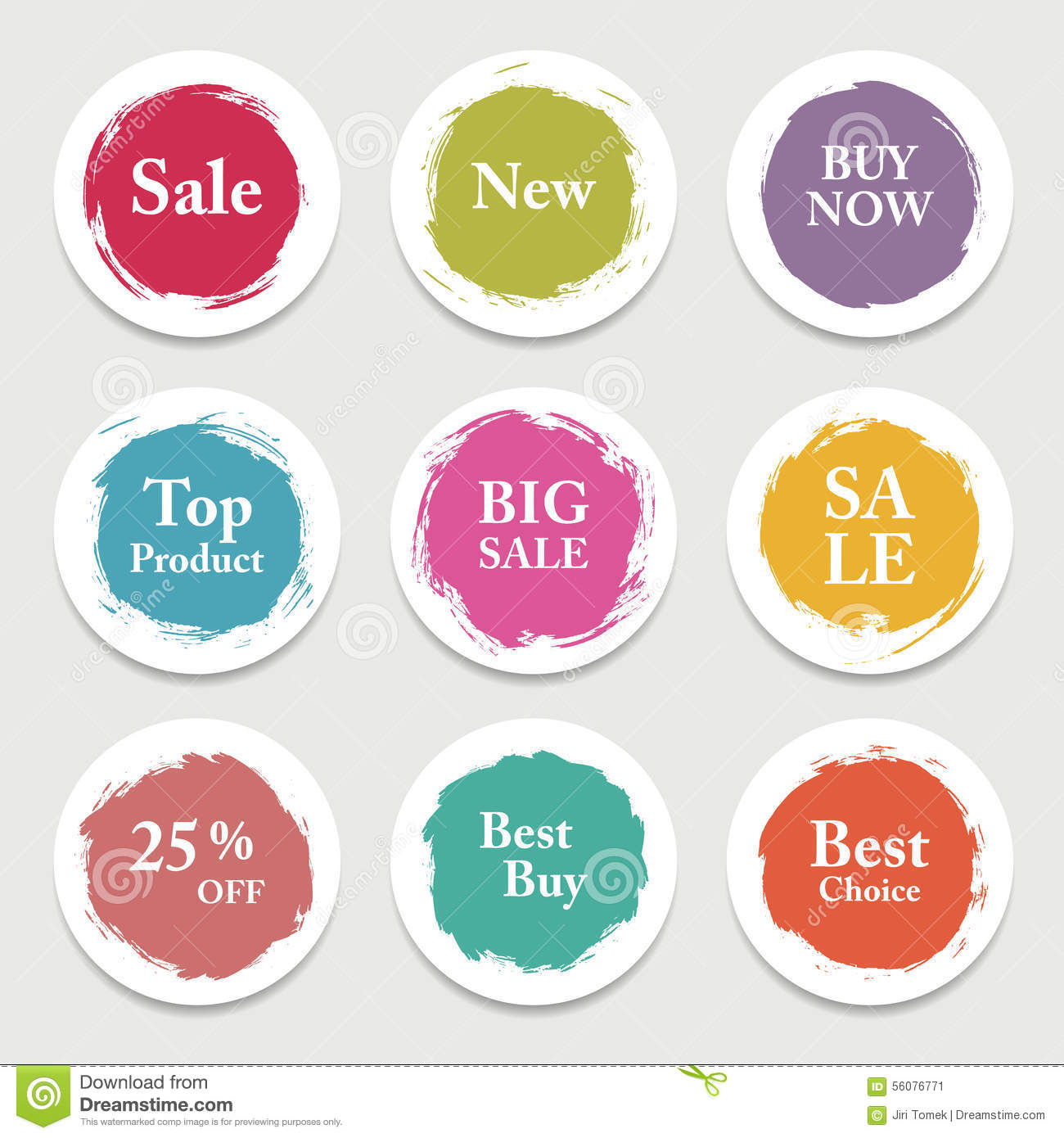 Colorful vector paper circle, sticker, label, banner with brush strokes.