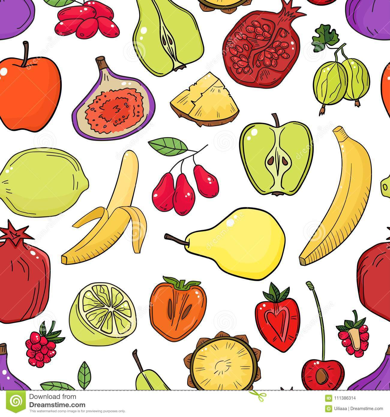 Colorful Vector Seamless Pattern With Fruits Abstract