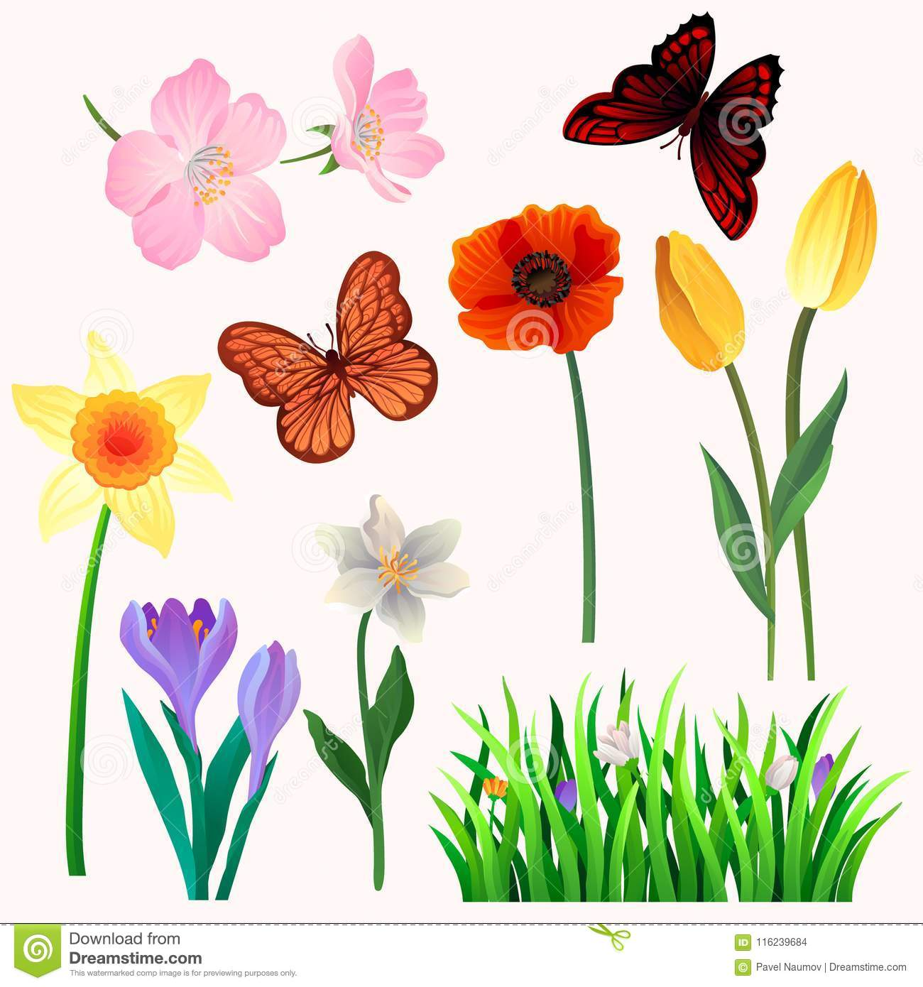 Beautiful Spring Flowers Butterflies Stock Illustrations