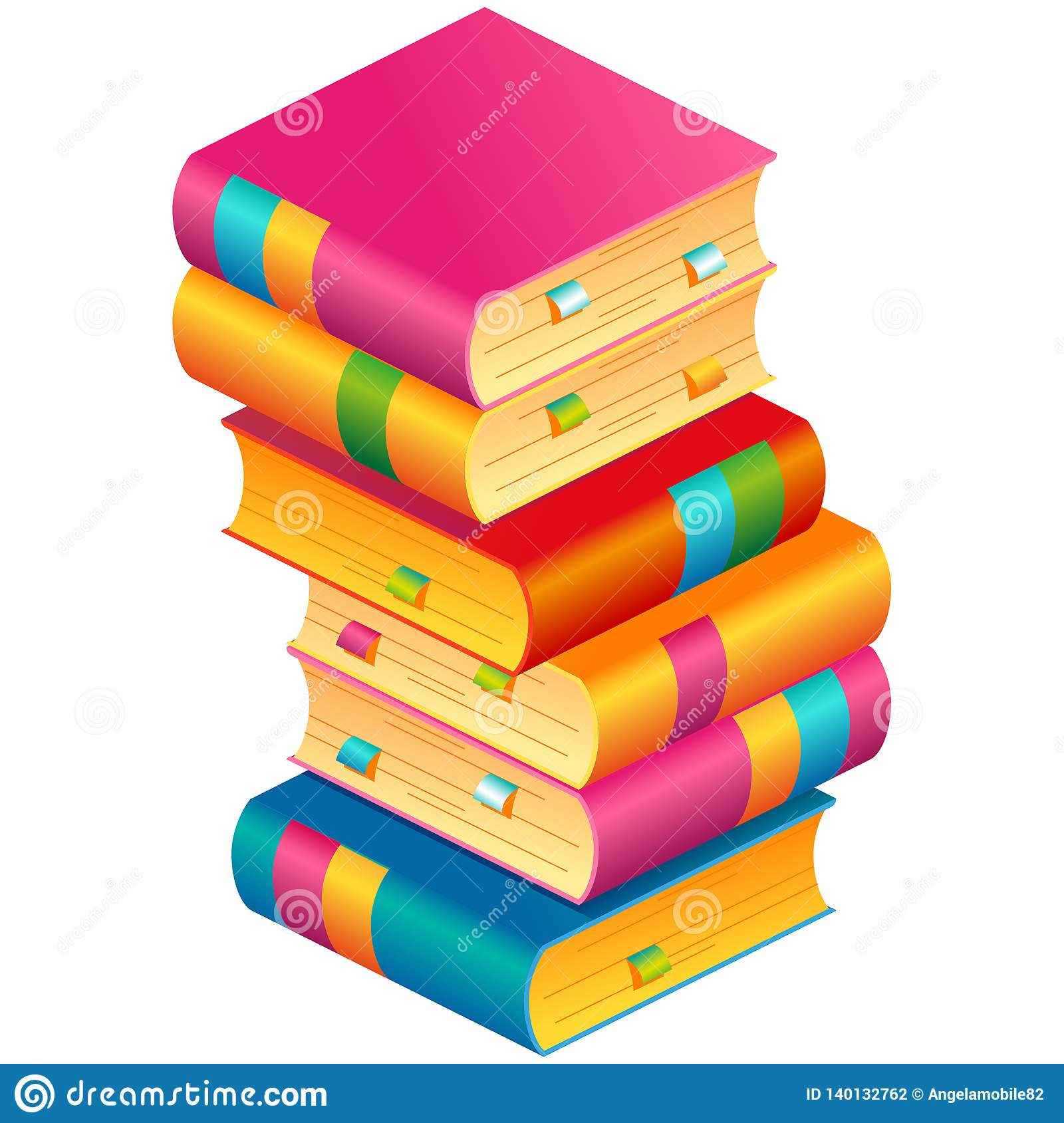 Colorful vector stack of books with bookmarks