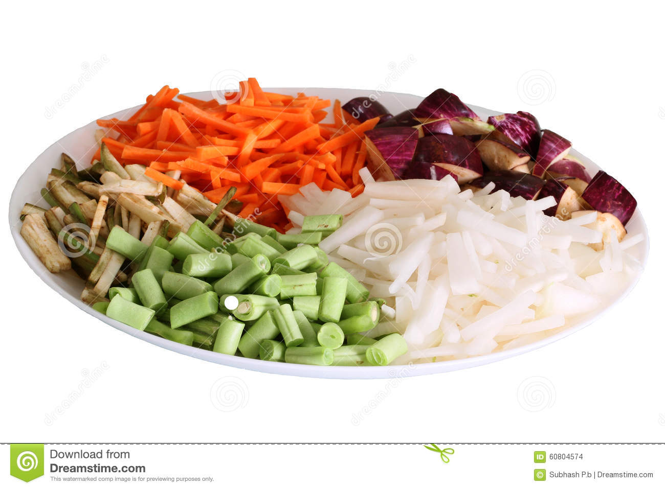 Colorful vegetables arranged in plate with white background
