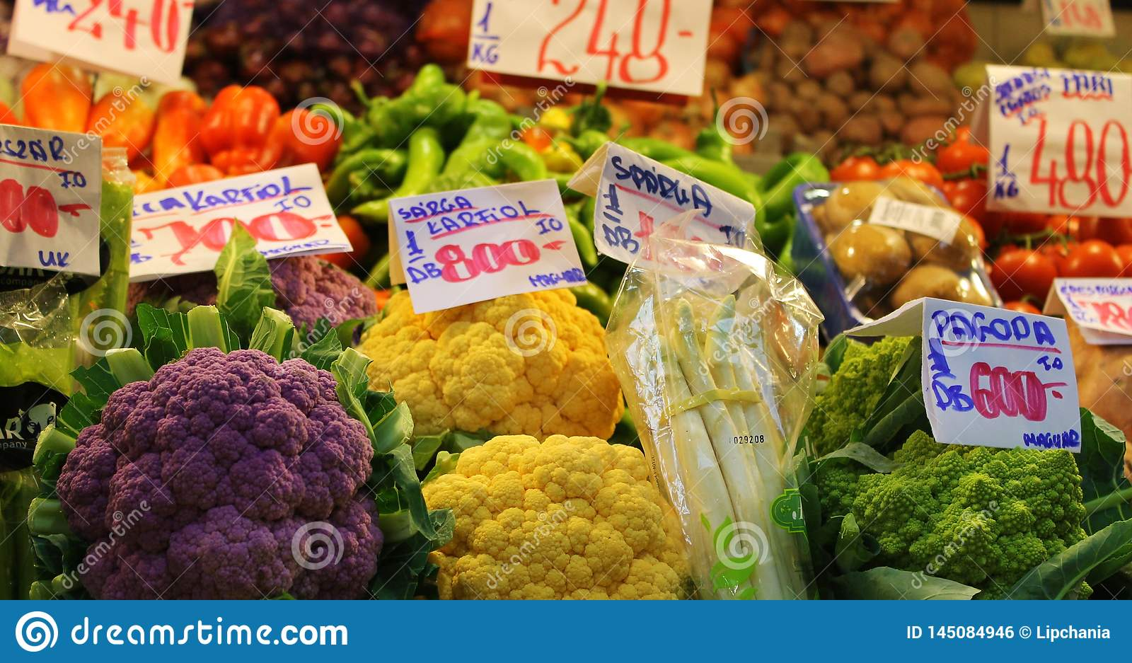 Bright colours of vegetable market