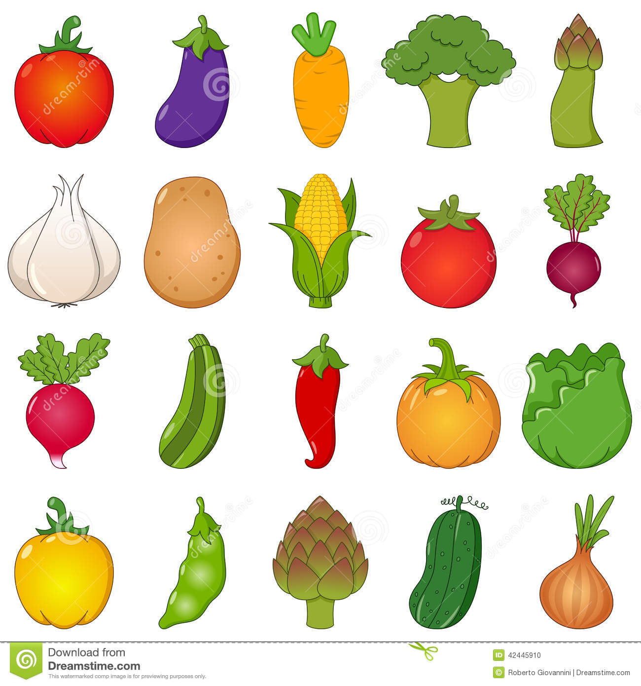 colorful vegetables set cartoon style stock vector