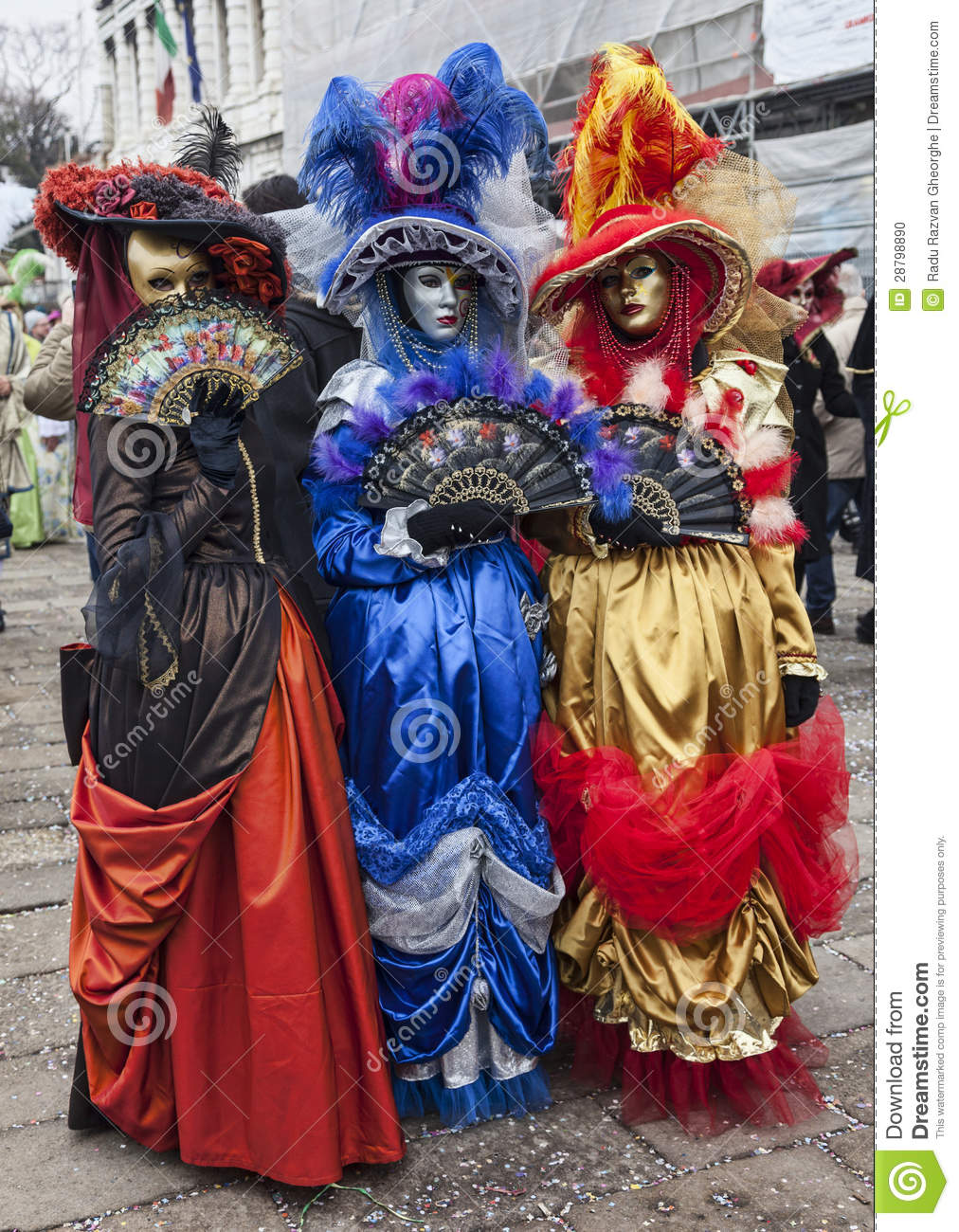 colorful venetian costumes editorial image