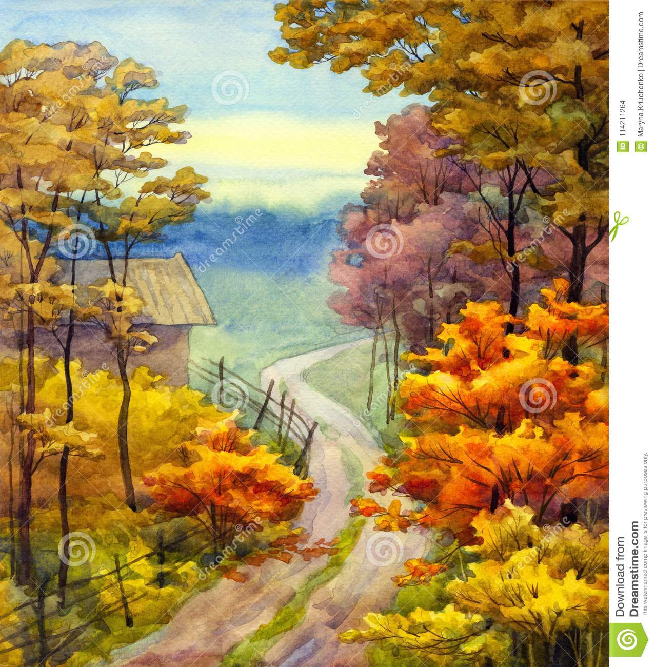 Colorful vibrant hand drawn watercolour sketch drawing on paper backdrop with space for text on glowing heaven quiet romantic scene