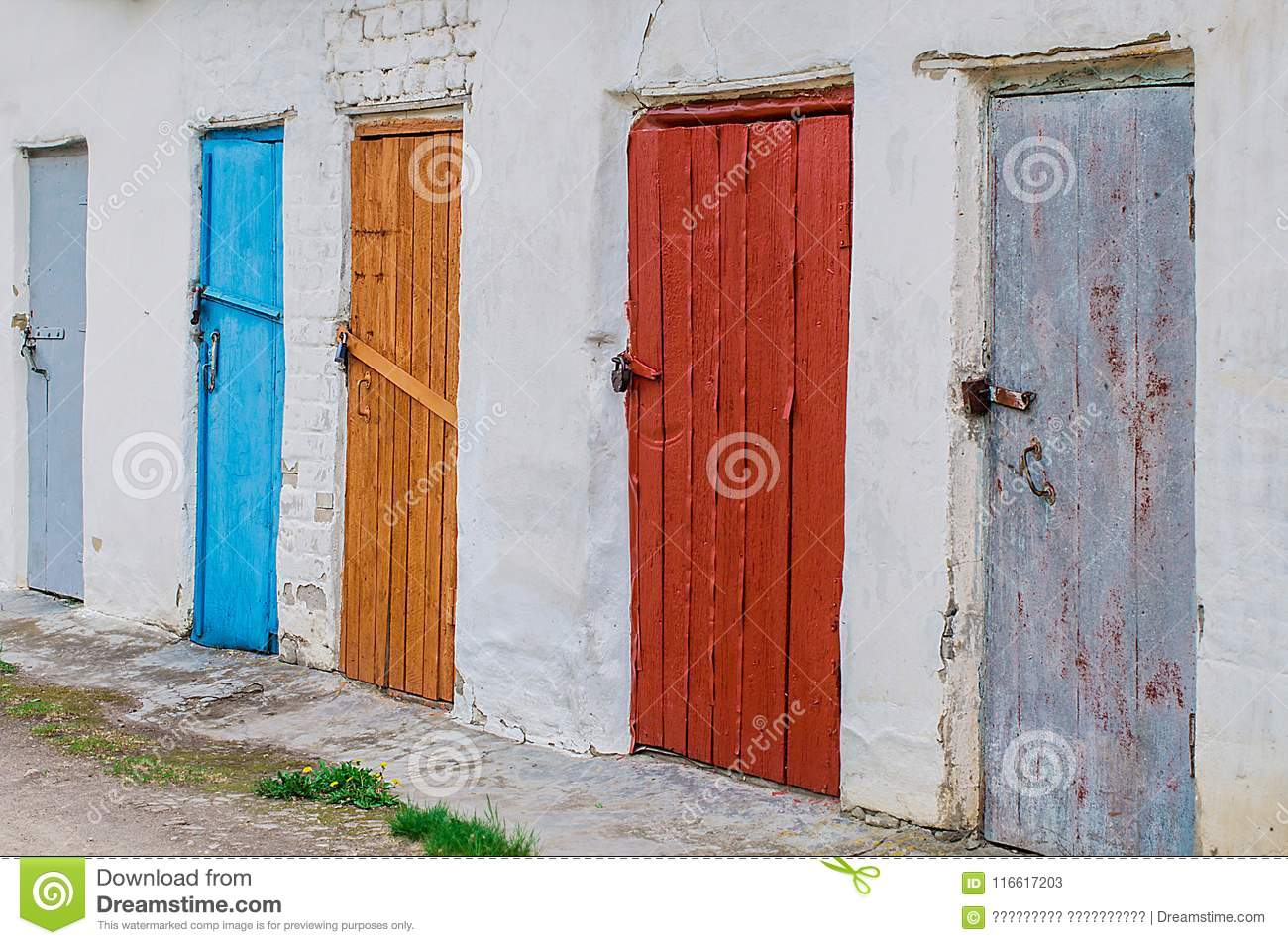 Colorful Vintage Barn Doors With Metal Locks Stock Image Image Of Green Protection 116617203