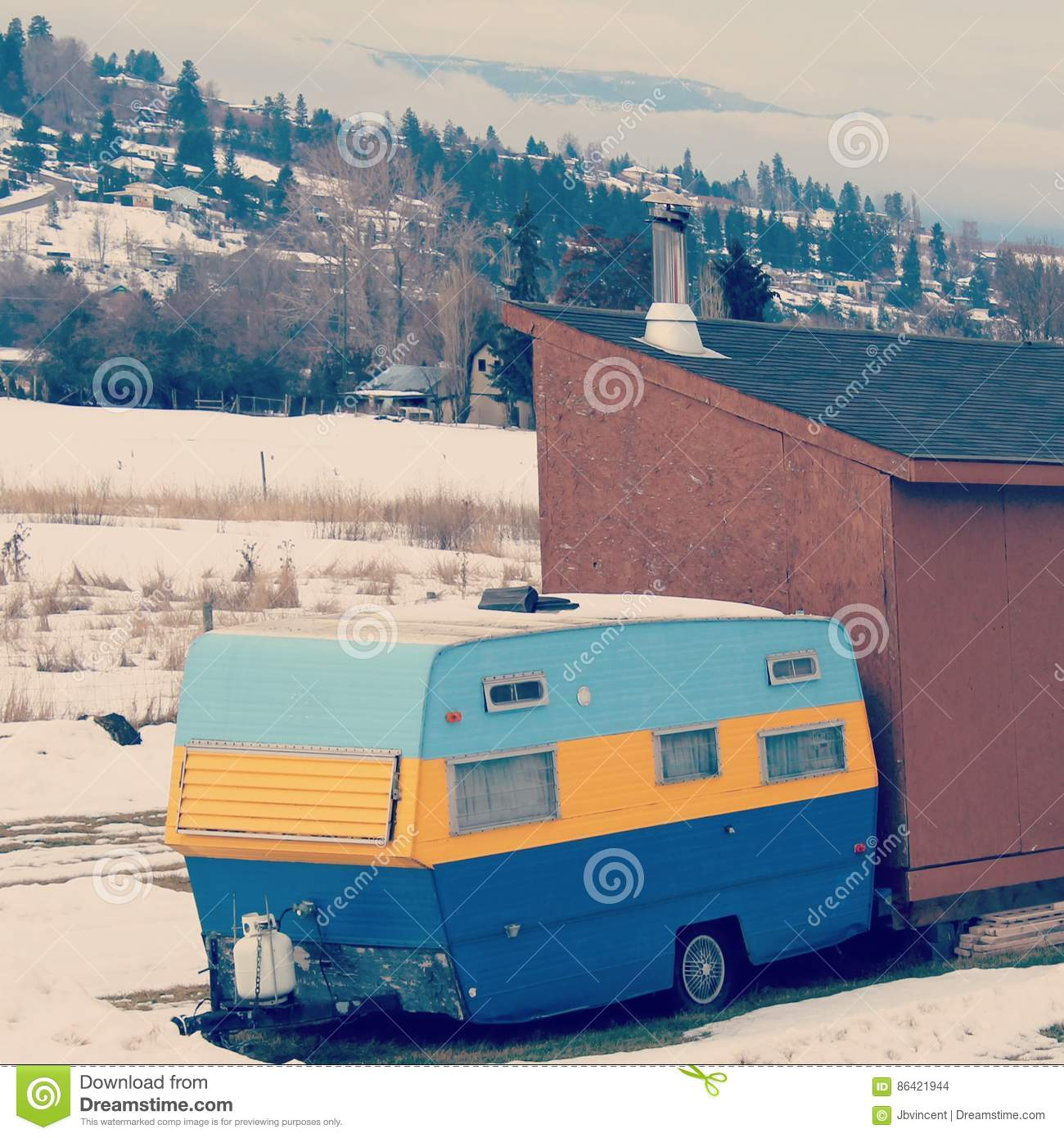 Vintage Stadium Lights: Colorful Vintage Camper Stock Photo. Image Of Snow, Yellow