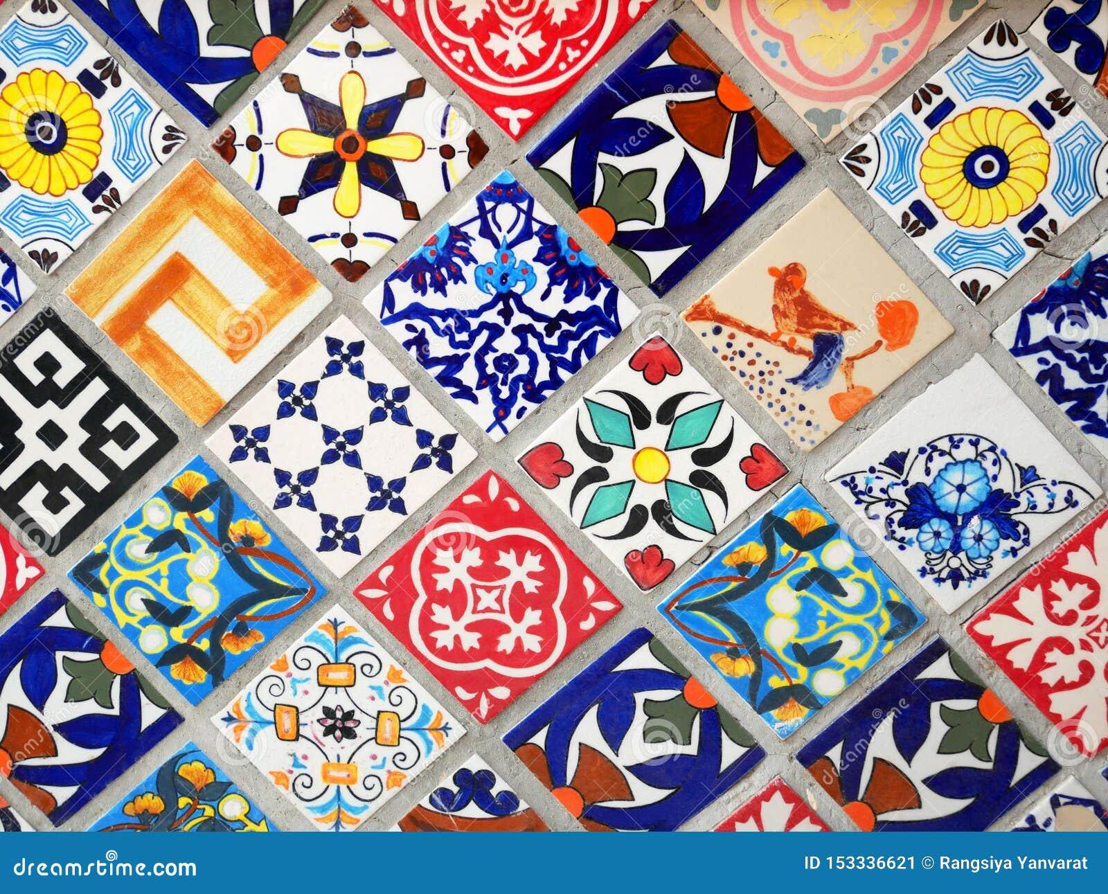 Colorful Vintage Ceramic Tiles Wall Decoration Stock Image Image Of Decorative Frame 153336621