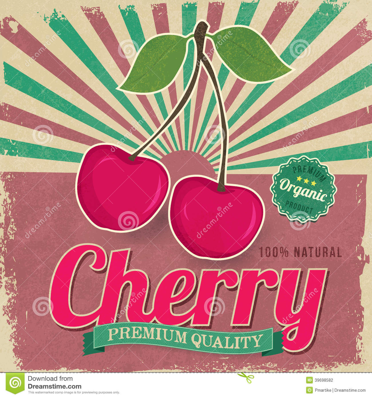 Colorful Vintage Cherry Label Poster Vector Stock Vector - Image ...