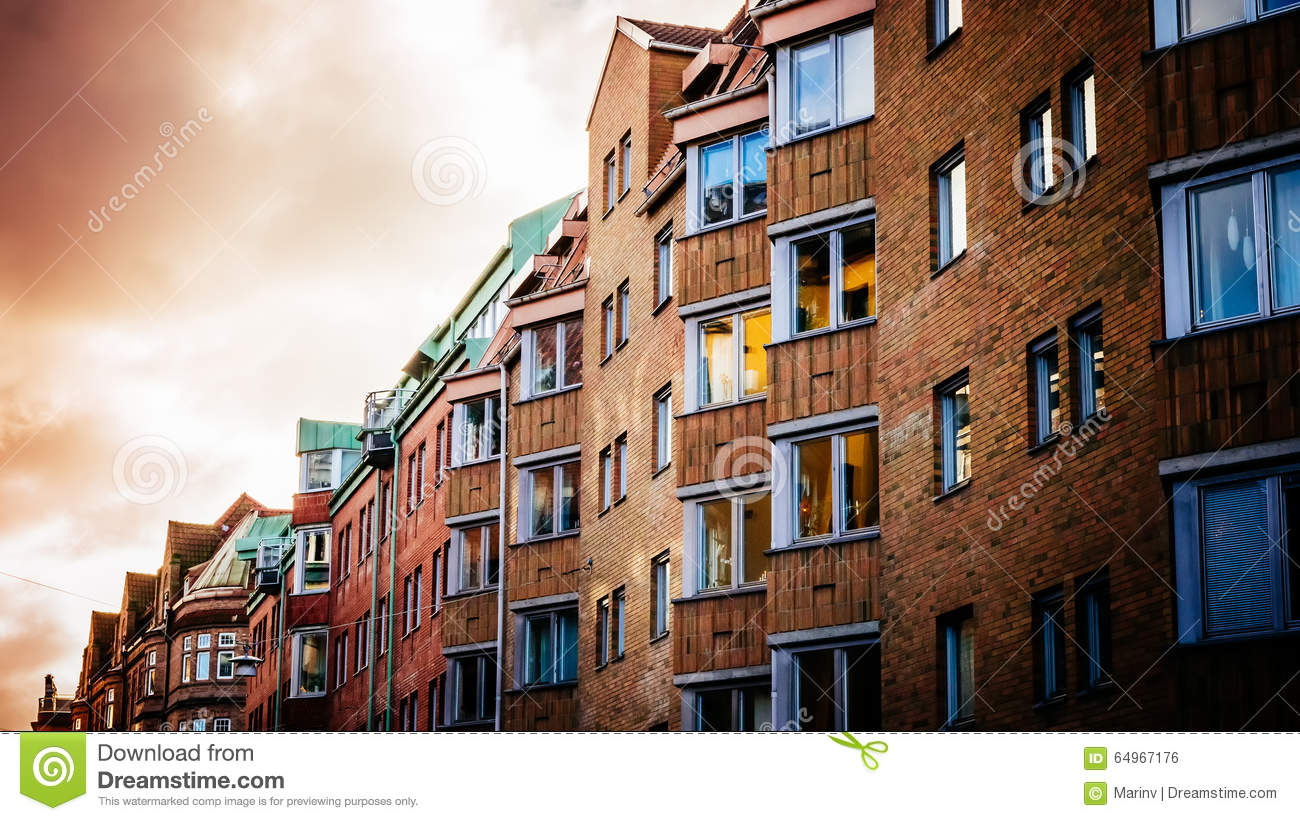 Colorful vintage houses and bulidings at the historic part of Malmo