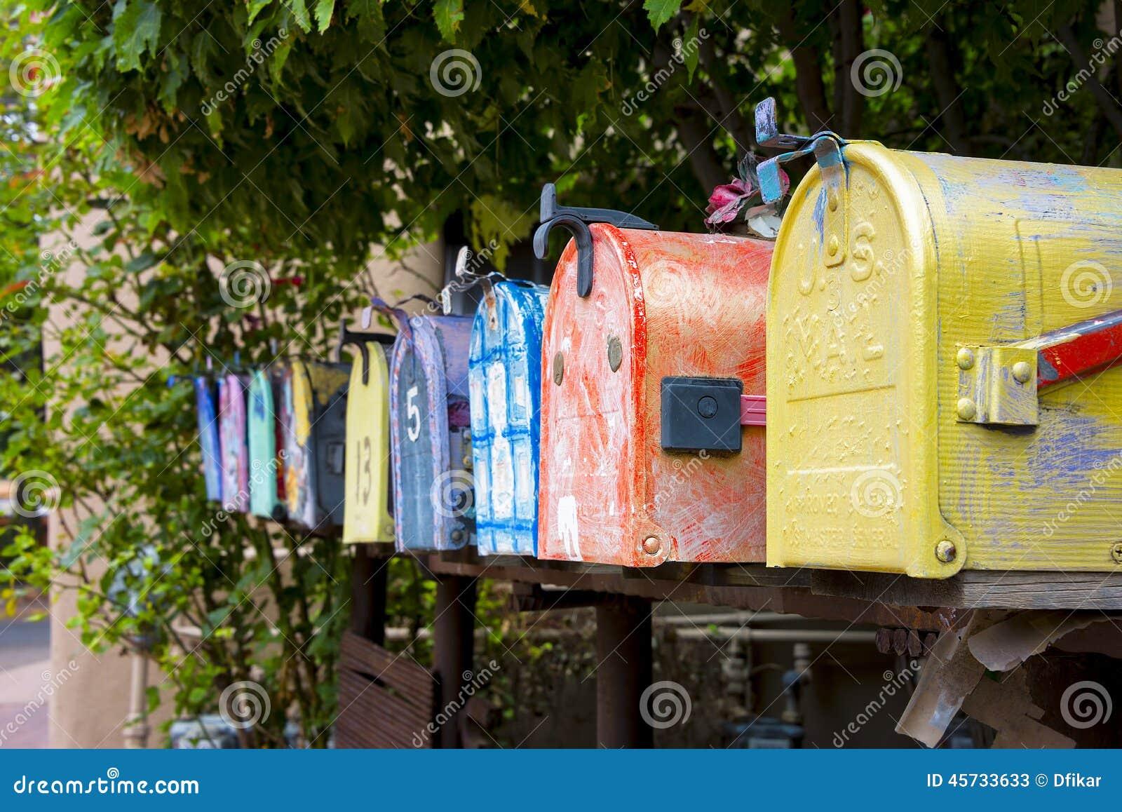 colorful vintage mailboxes stock photo image 45733633. Black Bedroom Furniture Sets. Home Design Ideas