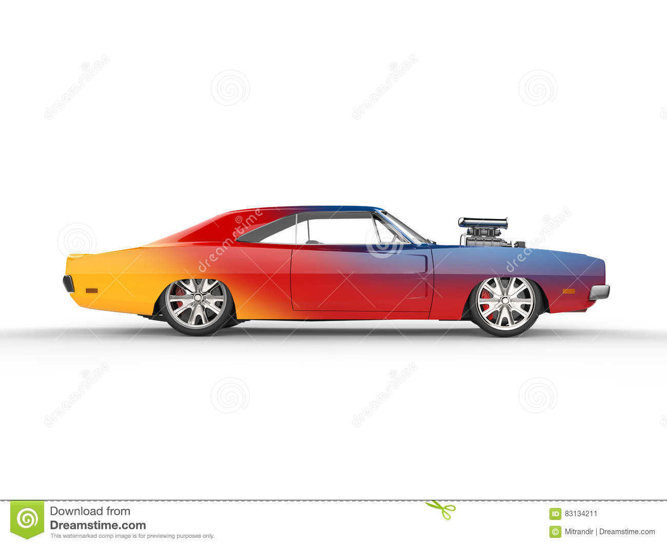 Colorful Vintage Muscle Car Side View Stock Illustration Image