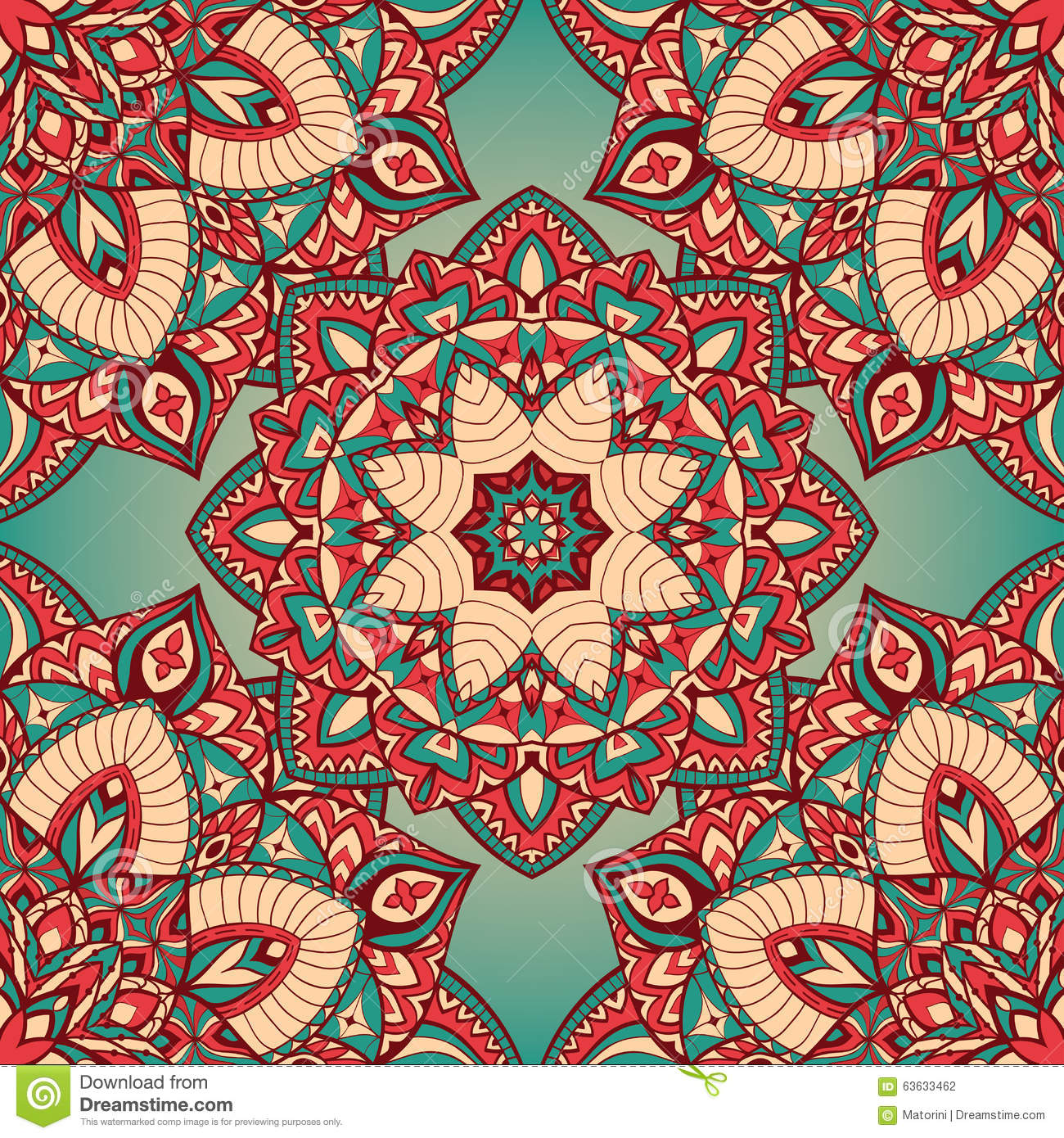Colorful Vintage Pattern Of Mandalas. Stock Vector ...