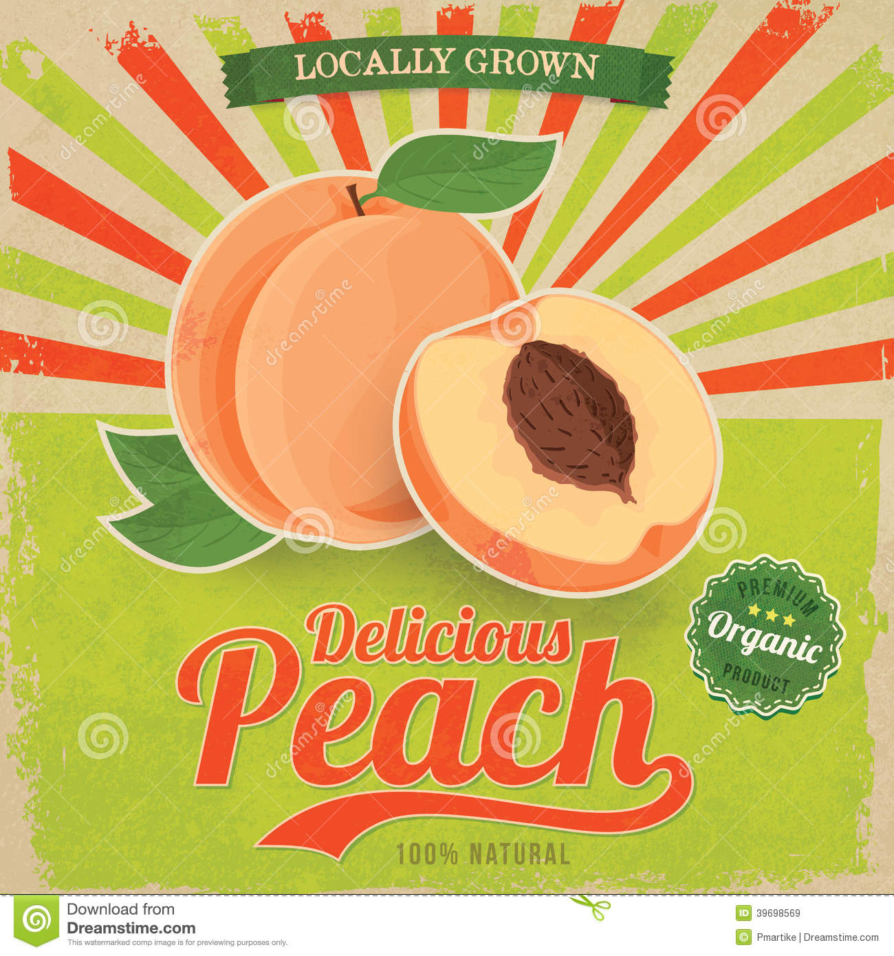 Colorful vintage peach label poster vector stock vector