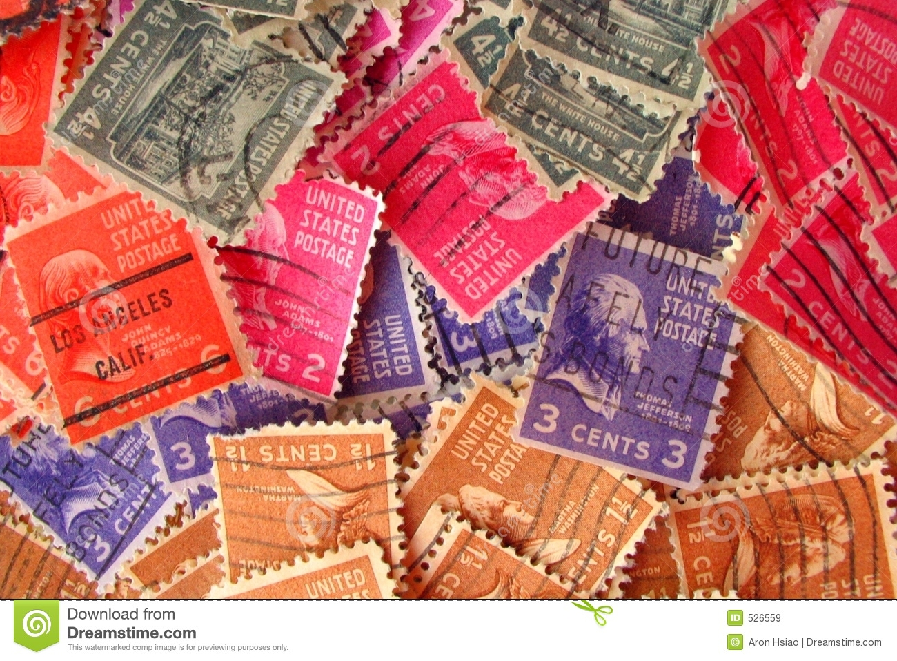 Colorful Vintage Postmarked Stamps Royalty Free Stock Photo