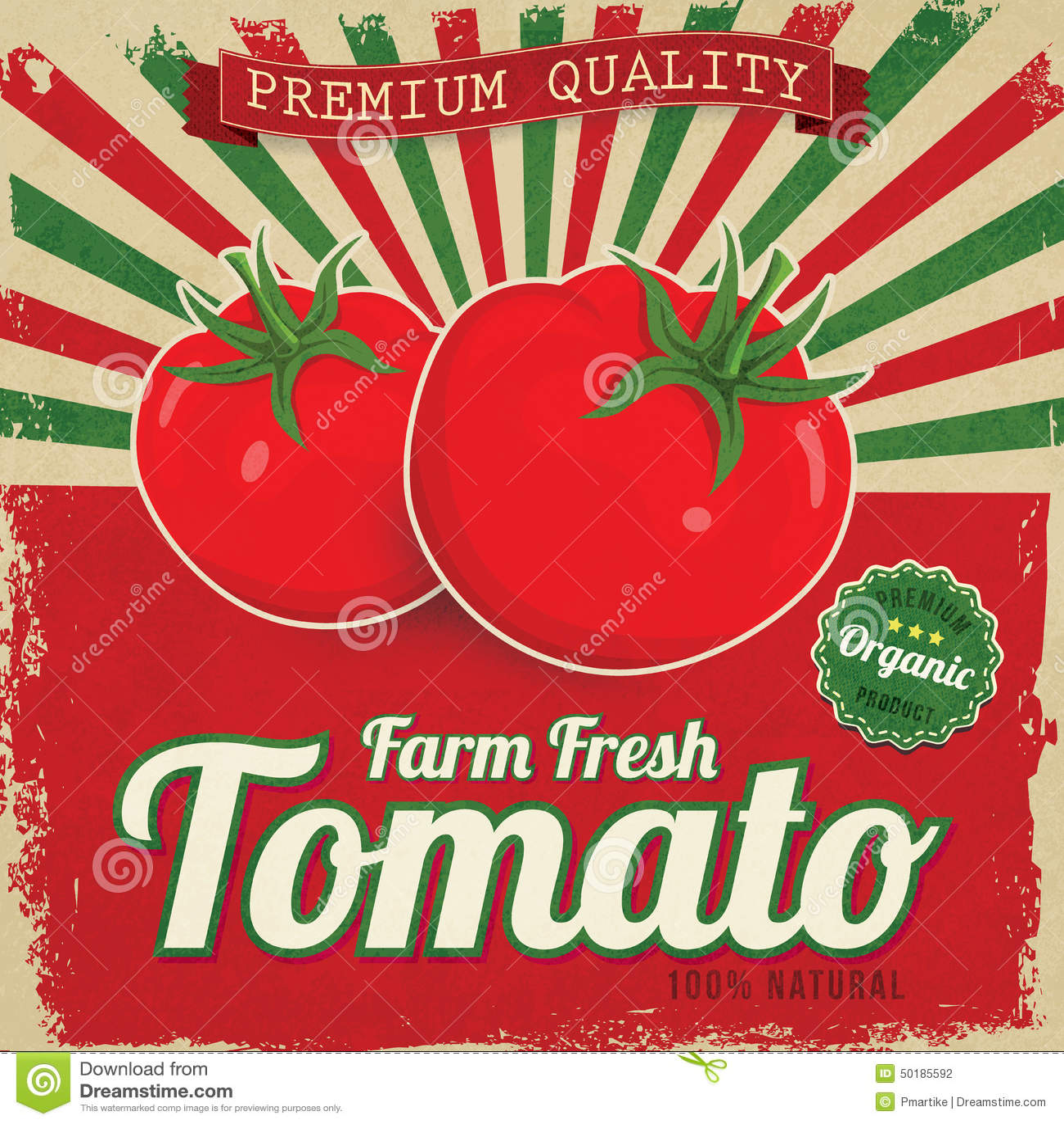 colorful vintage tomato label stock vector