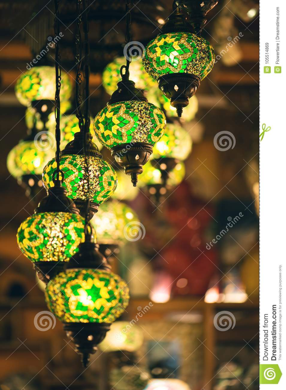 Colorful Vintage Traditional Arabic Lamps. Grand Bazaar In Kuala ...