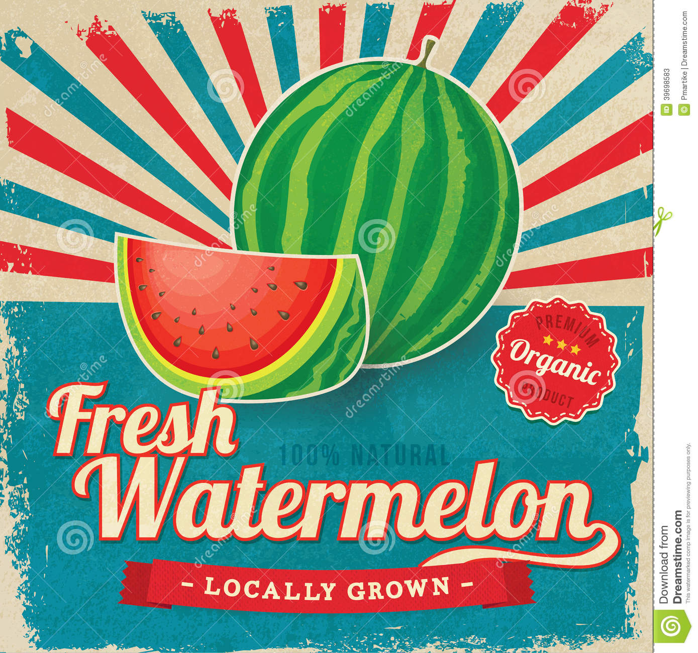 Colorful Vintage Watermelon Label Poster Stock Vector - Image ...