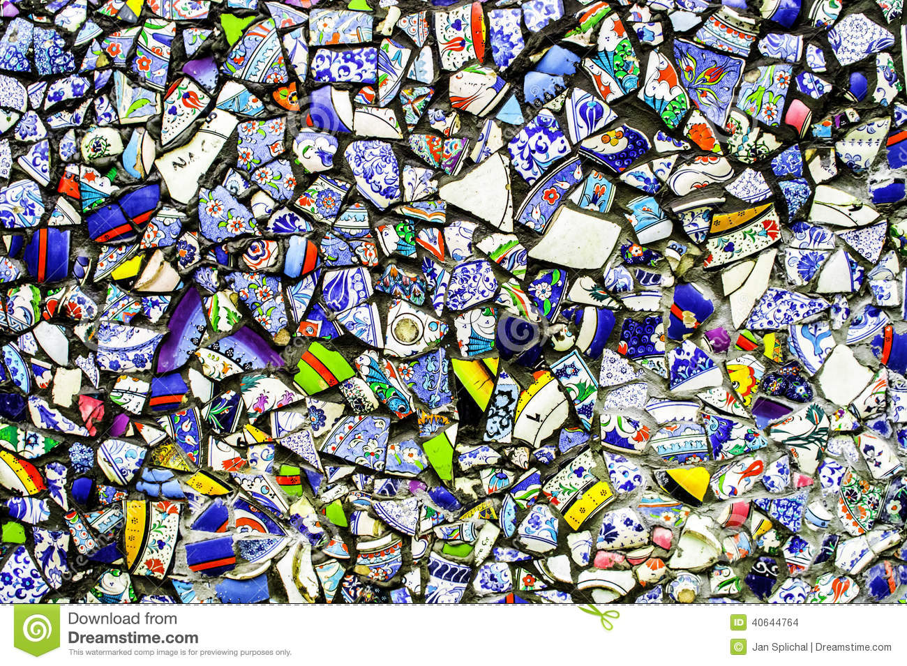 Colorful Wall From Broken Pottery Stock Photo Image