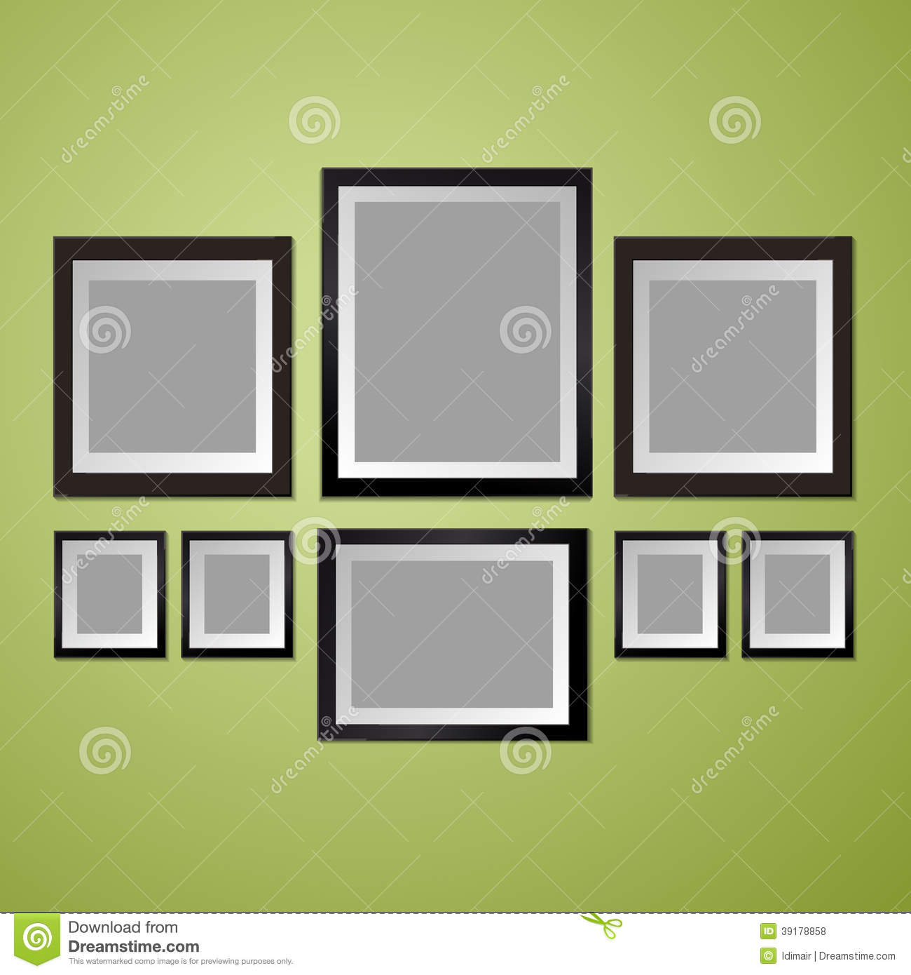 Colorful wall with empty picture frame cartoon vector - Disposition cadre photo mur ...