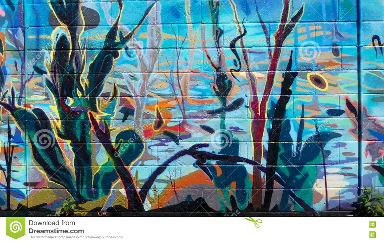 Colorful Wall Mural Stock Photo Image Of Outside Exterior 77504516