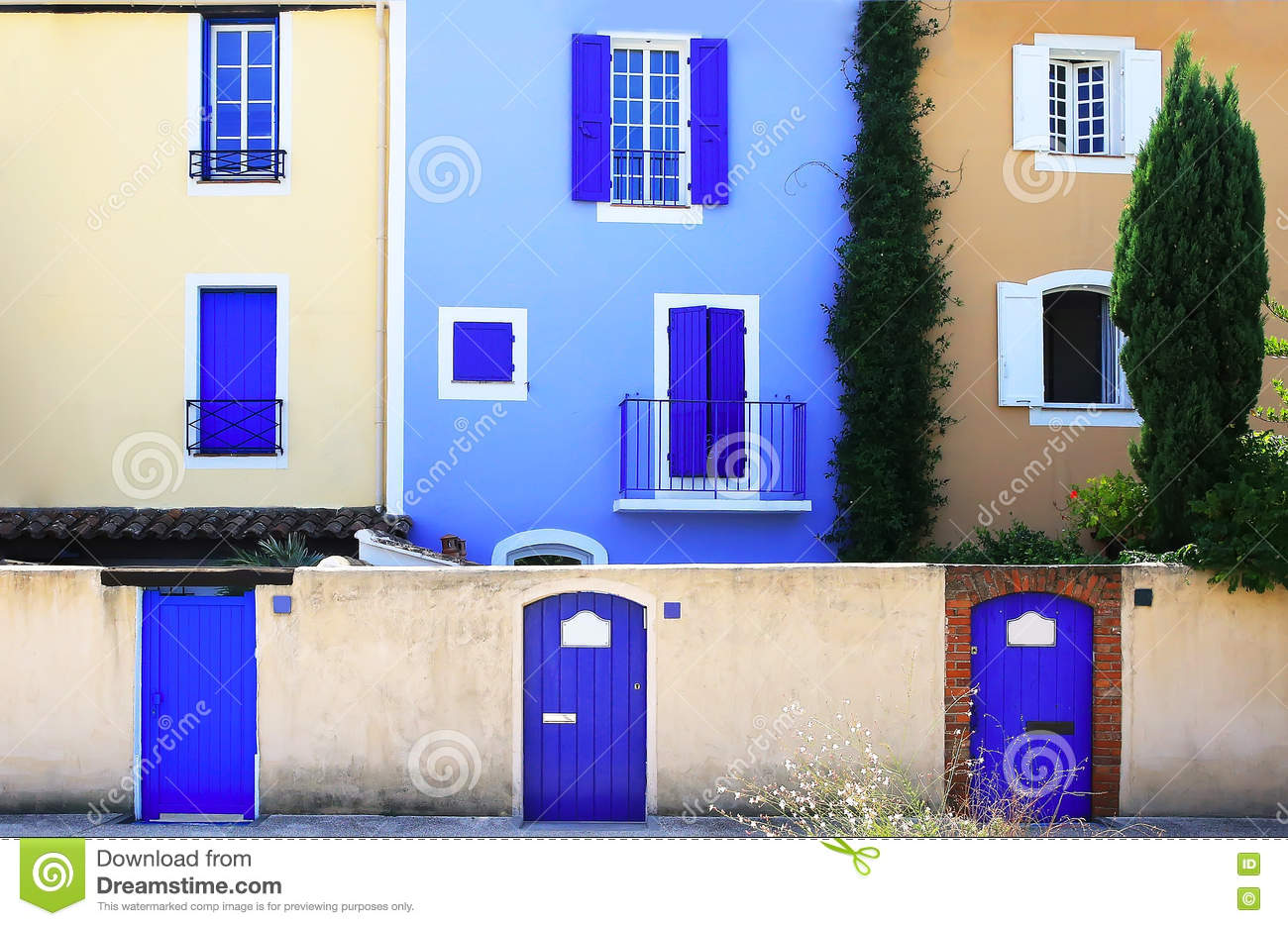 Colorful wall with windows and doors