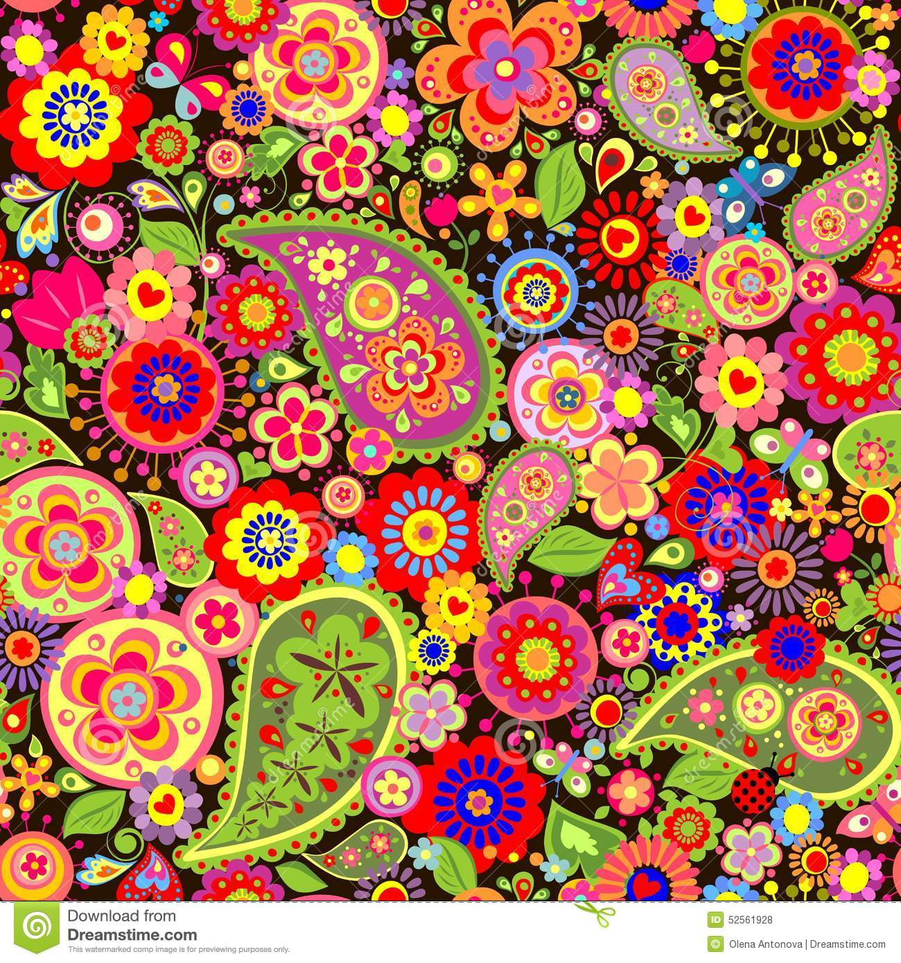 Colorful Wallpaper With Funny Spring Flowers Stock Vector