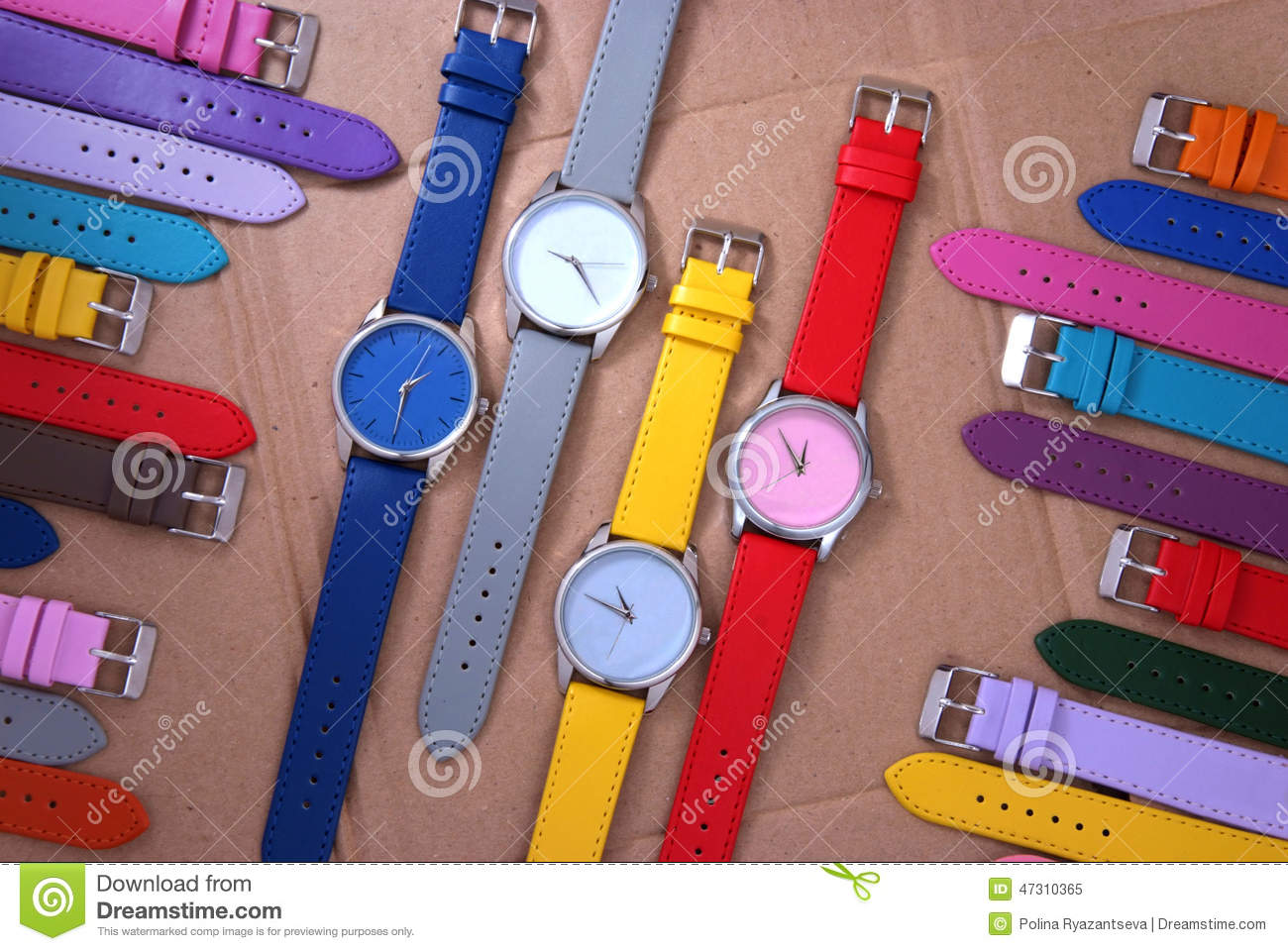 Colorful Watches On Cardboard Background Stock Photo ...