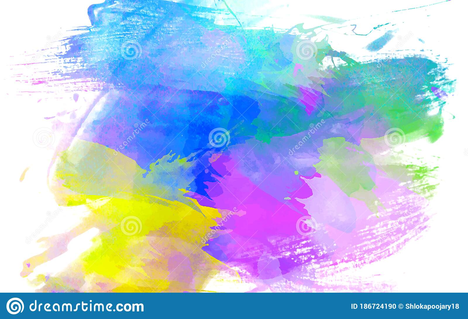Colorful Water Color Stokes On Plain White Background Pink Blue Purple And Yellow Brush Strokes Design Stock Illustration Illustration Of Colour Fashion 186724190