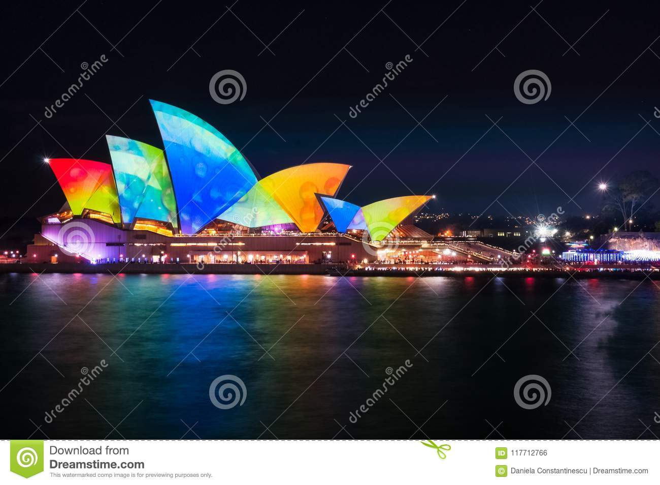 Colorful Water Drops on the Roofs of Opera House at Vivid Sydney