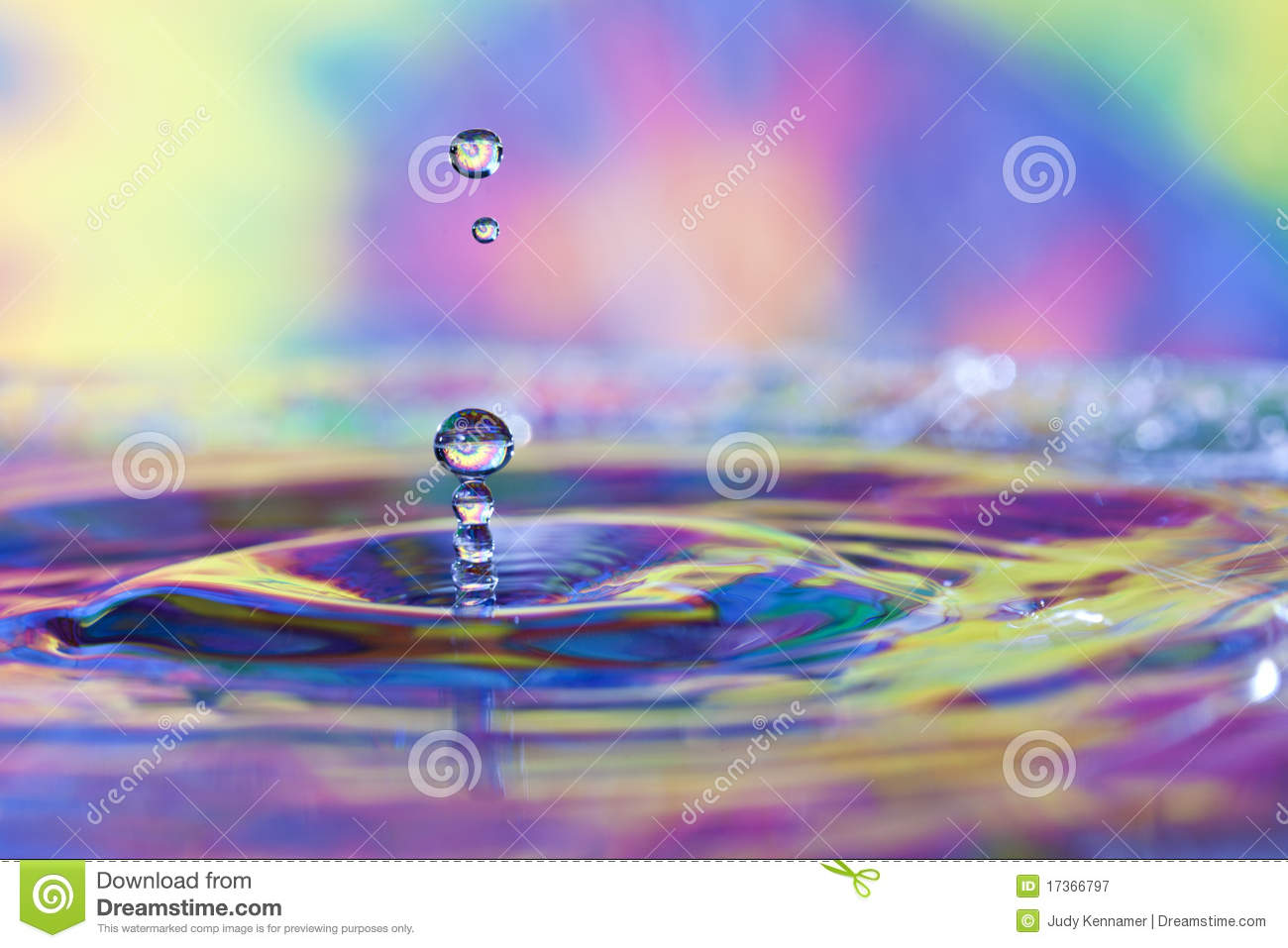 Colorful Water Drops And Splash Royalty Free Stock