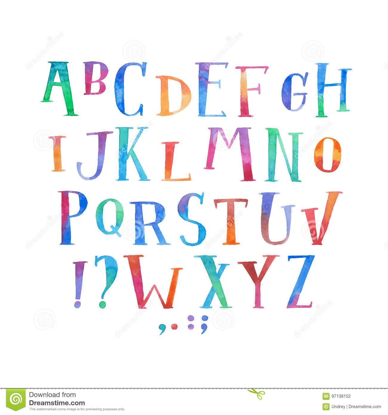 colorful watercolor aquarelle font type handwritten hand draw abc
