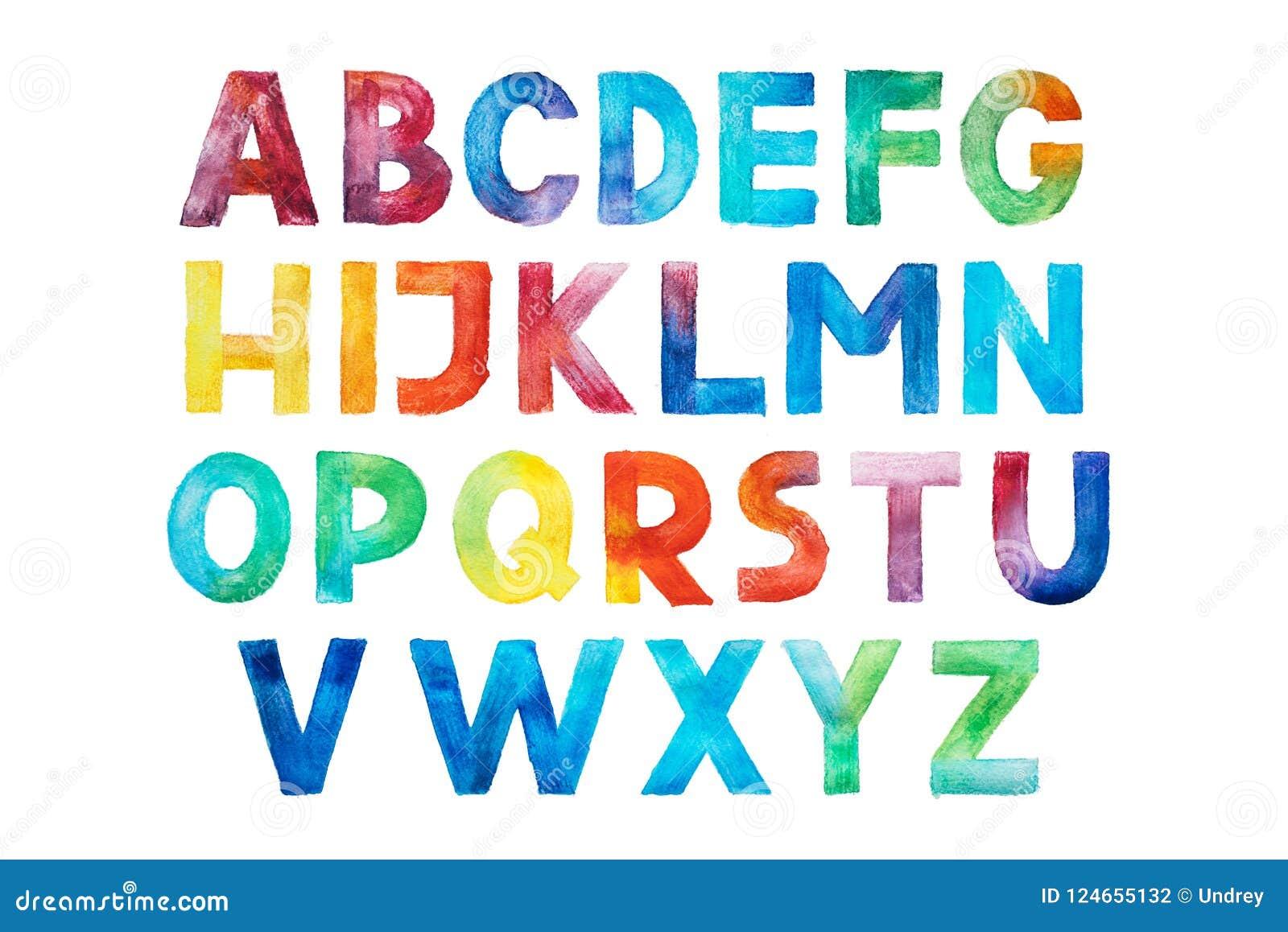 Colorful Watercolor Aquarelle Font Type Handwritten Hand