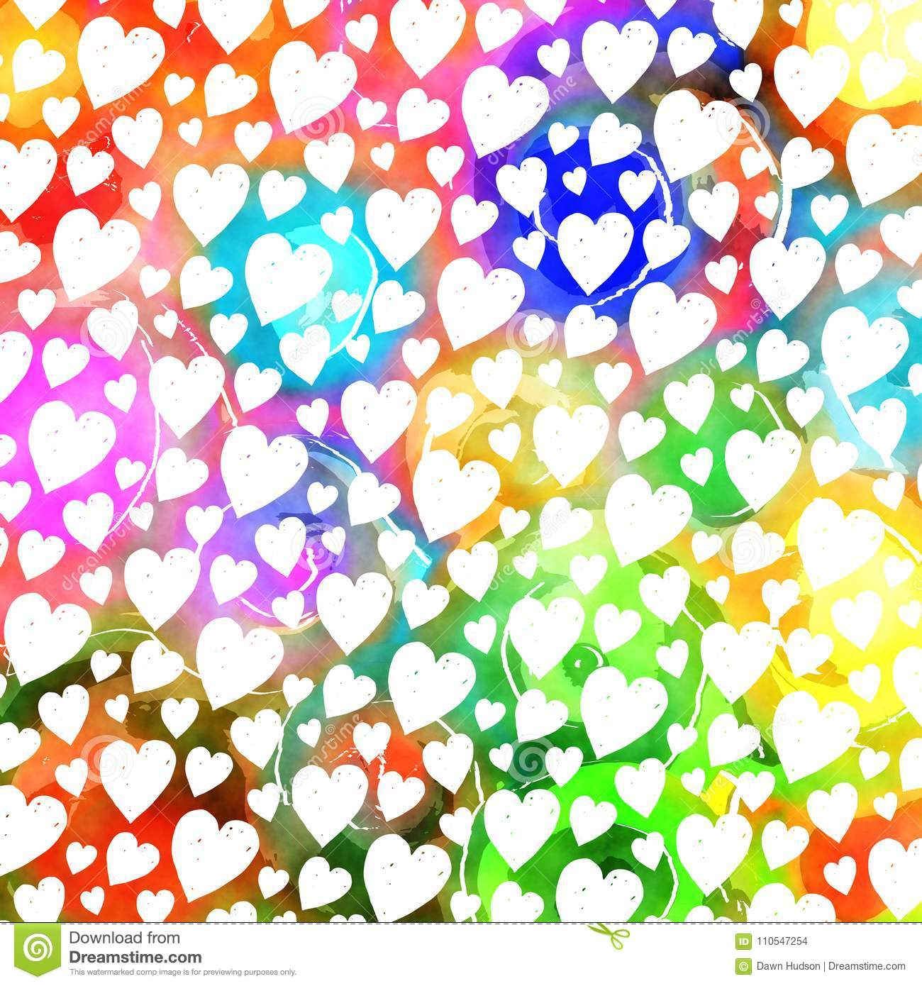 Colorful Watercolor Love Heart Pattern