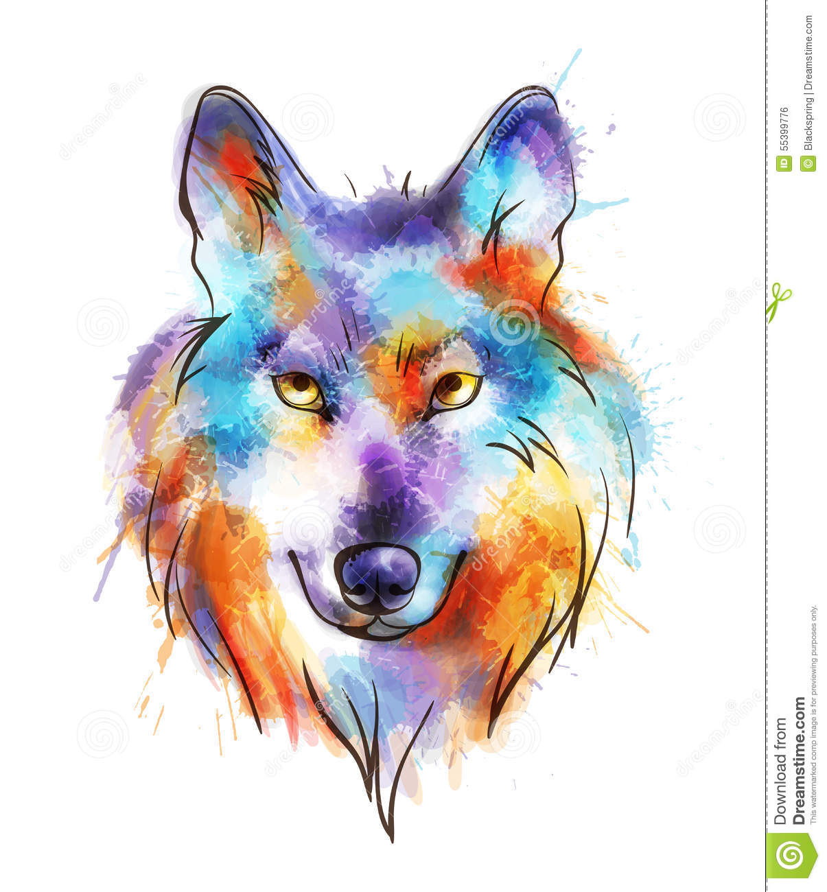 Colorful Watercolor Wolf's Head Stock Vector ...