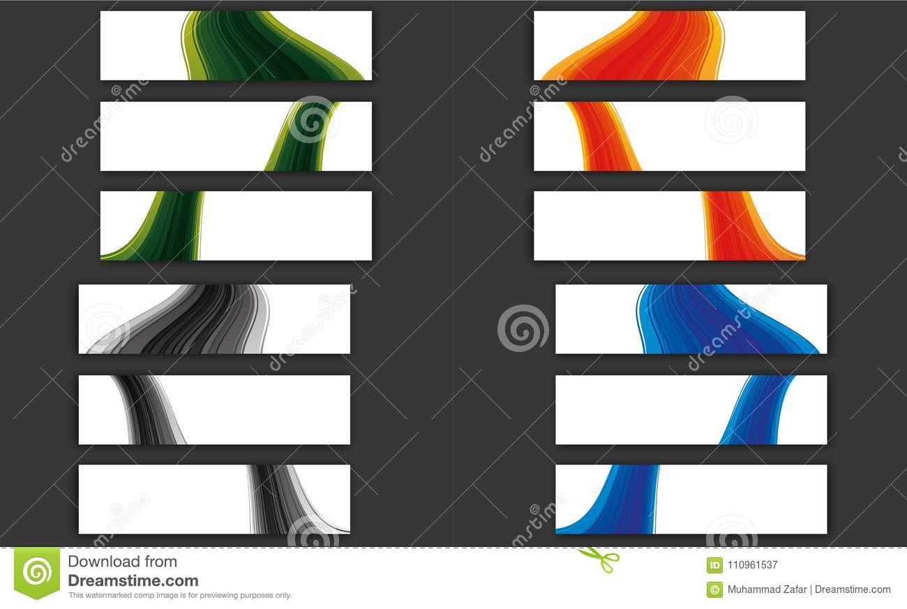 Colorful wave line banner collection
