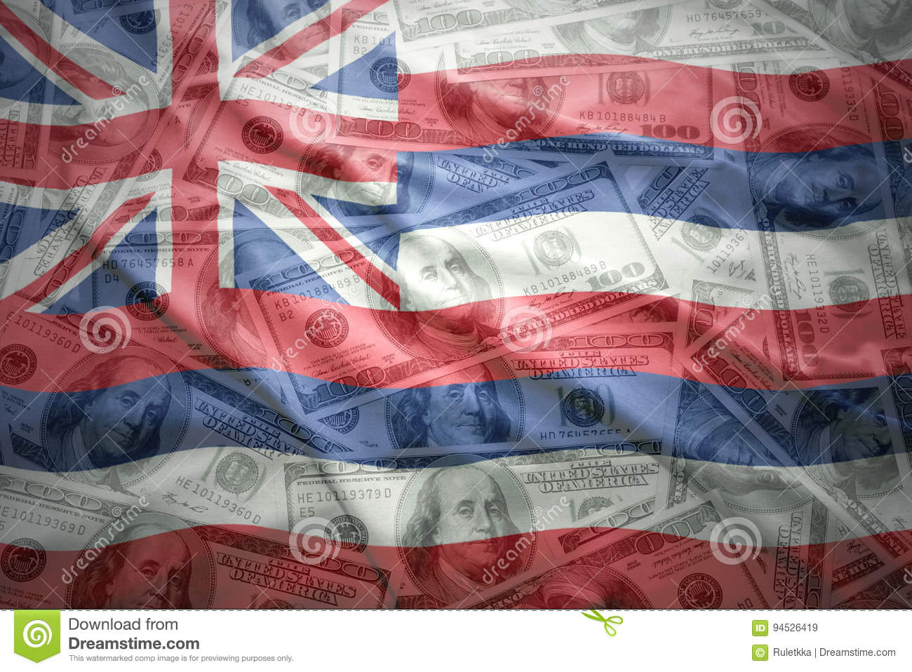 Colorful waving hawaii state flag on a american dollar money background