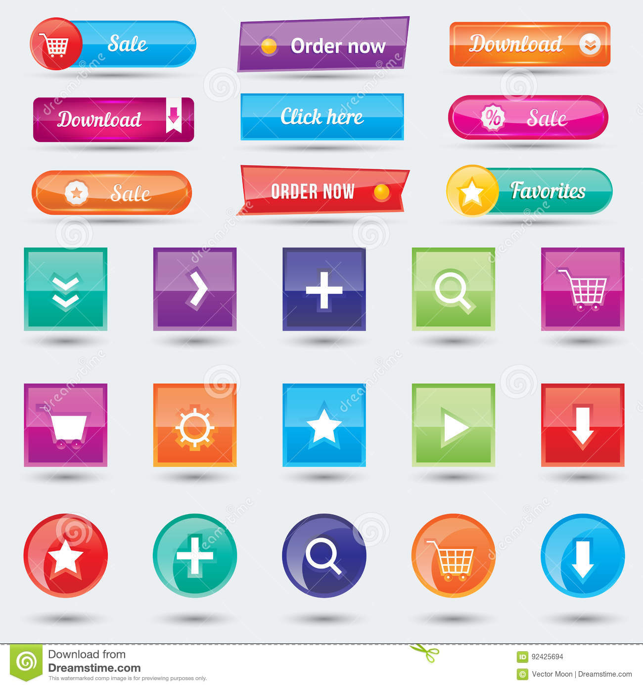Colorful Website Buttons Design Vector Illustration Glossy