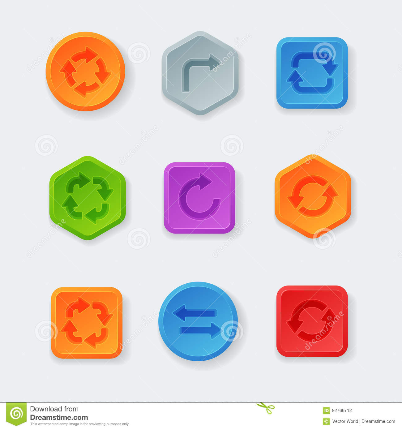 Colorful Website Turn Buttons Design Vector Illustration Glossy