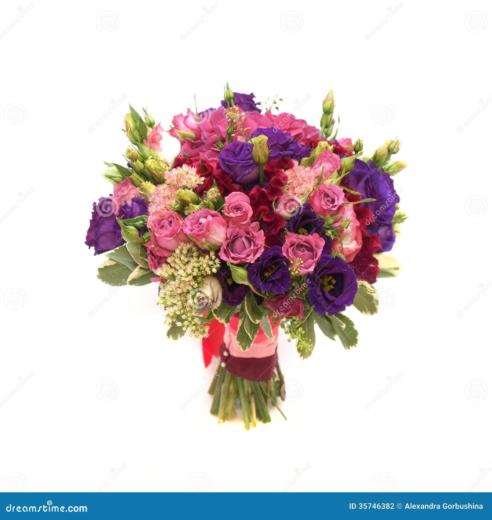 Wedding Flower Background: Colorful Wedding Bouquet On White Background Stock Photo