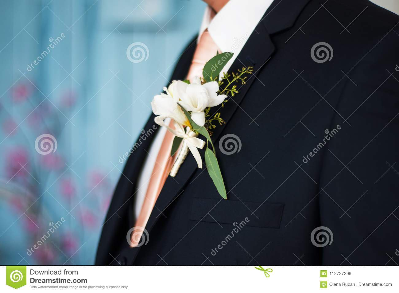 Colorful Wedding Boutonniere On Suit Stock Image - Image of beauty ...