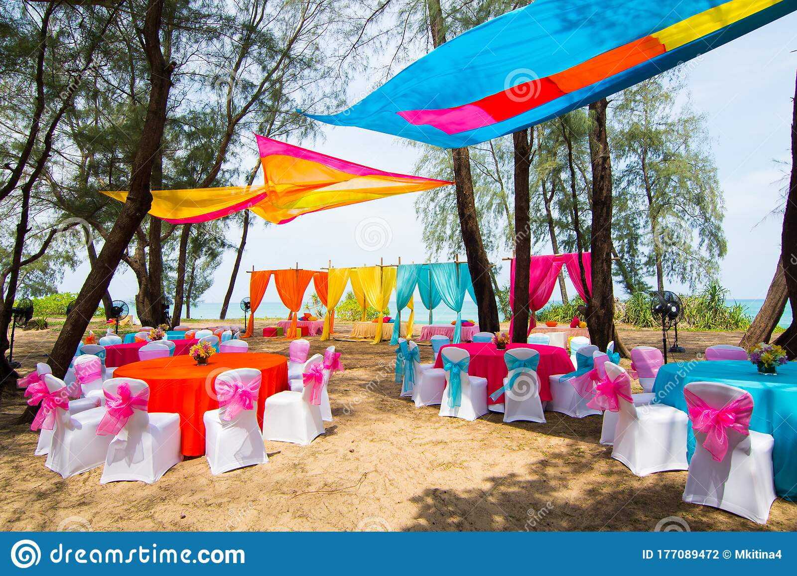 Colorful Wedding Venue Decor With Flower Outdoor Stock Photo Image Of Beauty Park 177089472
