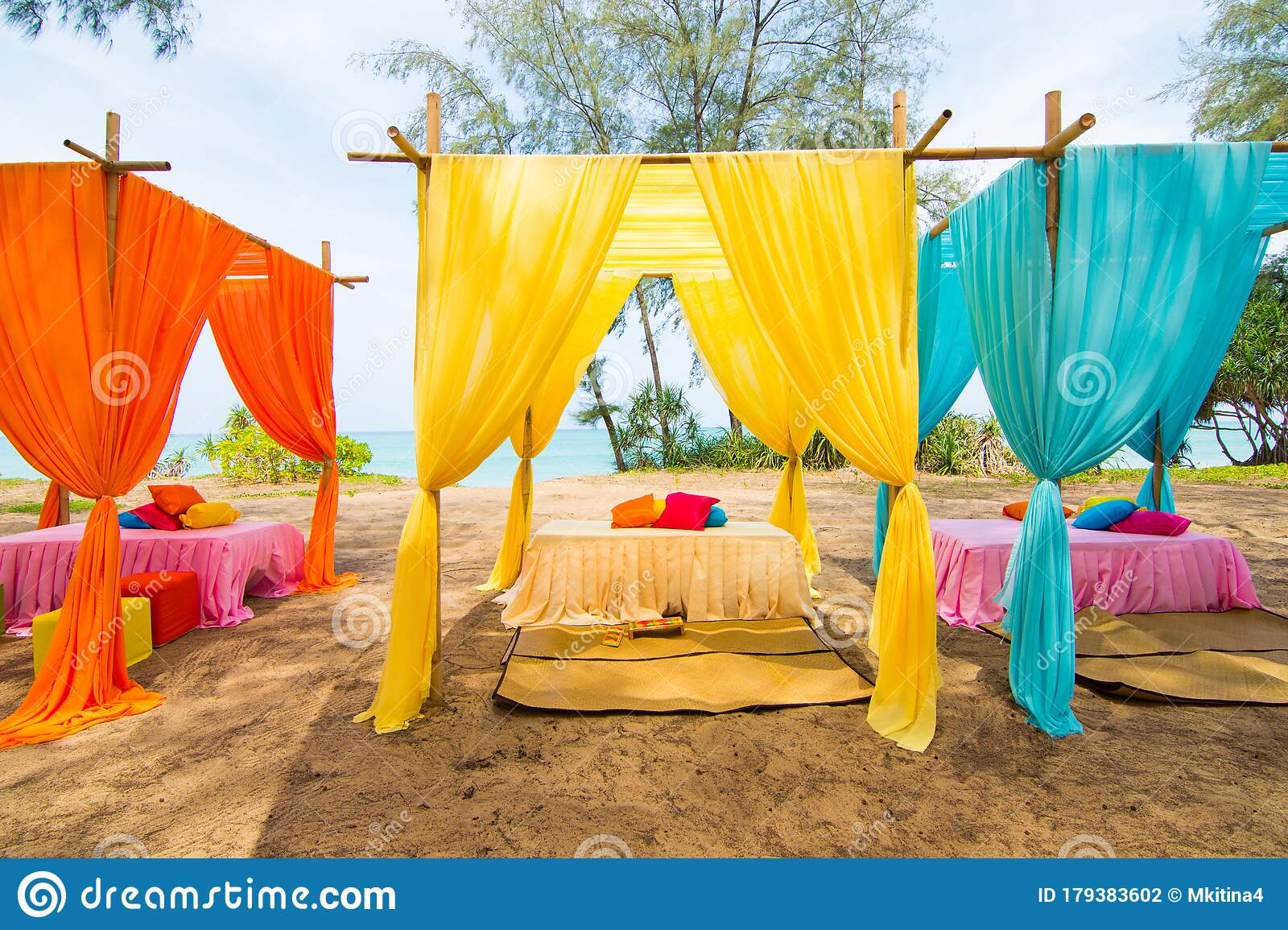 Colorful Wedding Venue Decor With Flower Outdoor Stock Photo Image Of Ceremony Blue 179383602