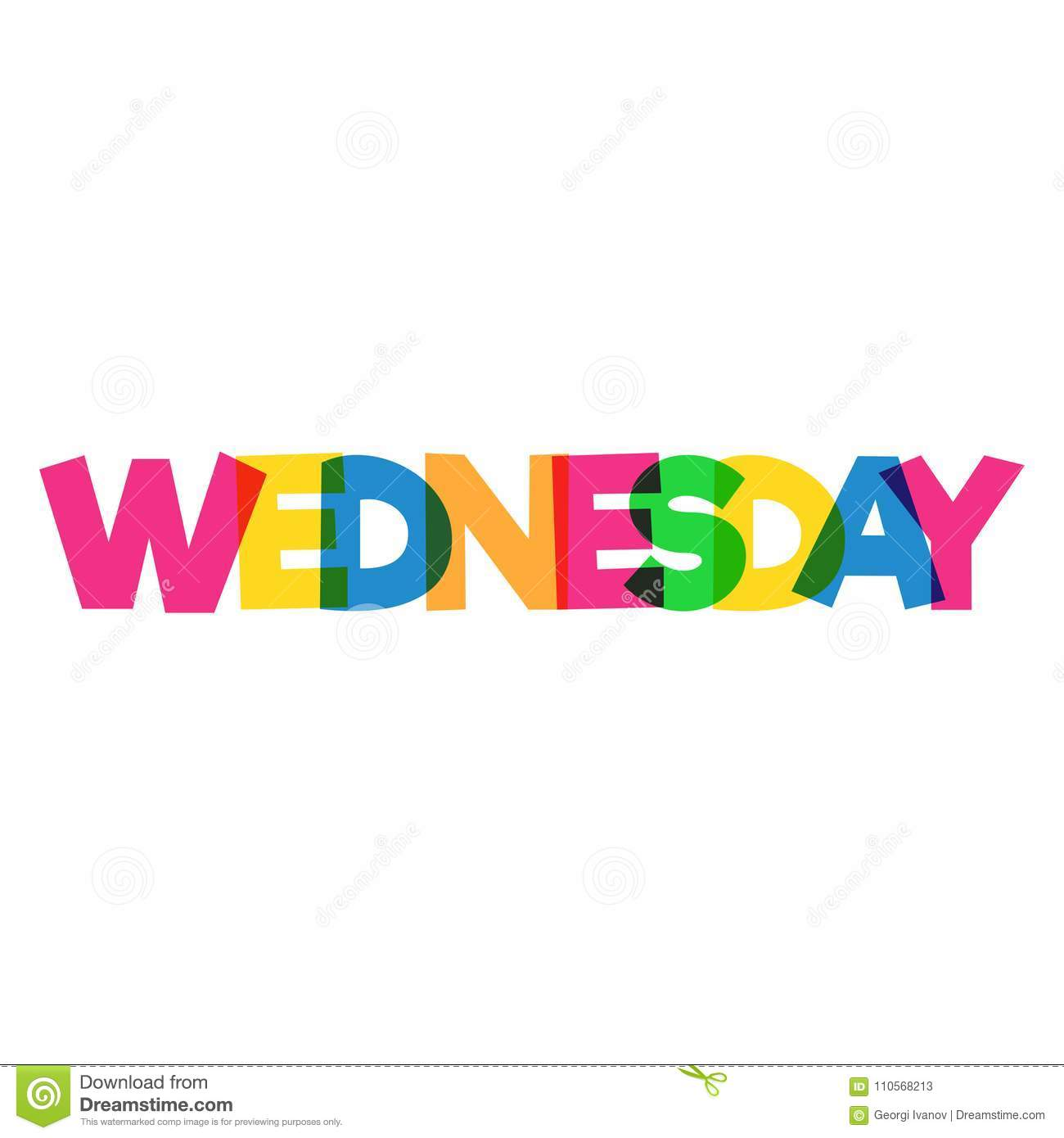 colorful wednesday word design overlapping colors