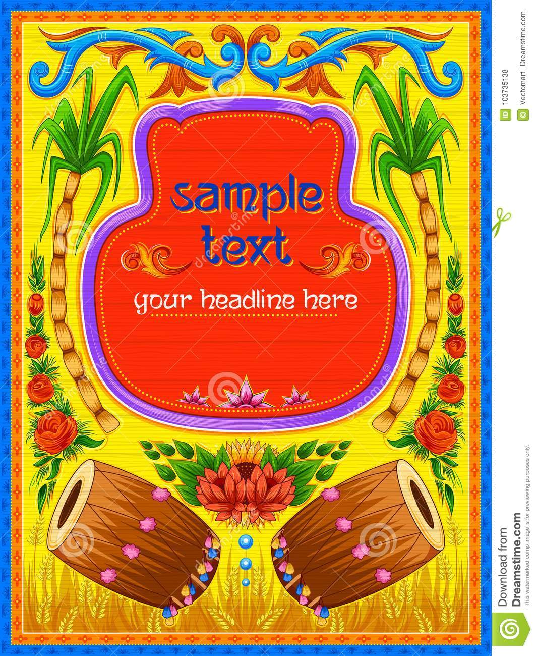 Colorful Welcome Banner In Truck Art Kitsch Style Of India Stock Vector Illustration Of Decoration Decor 103735138