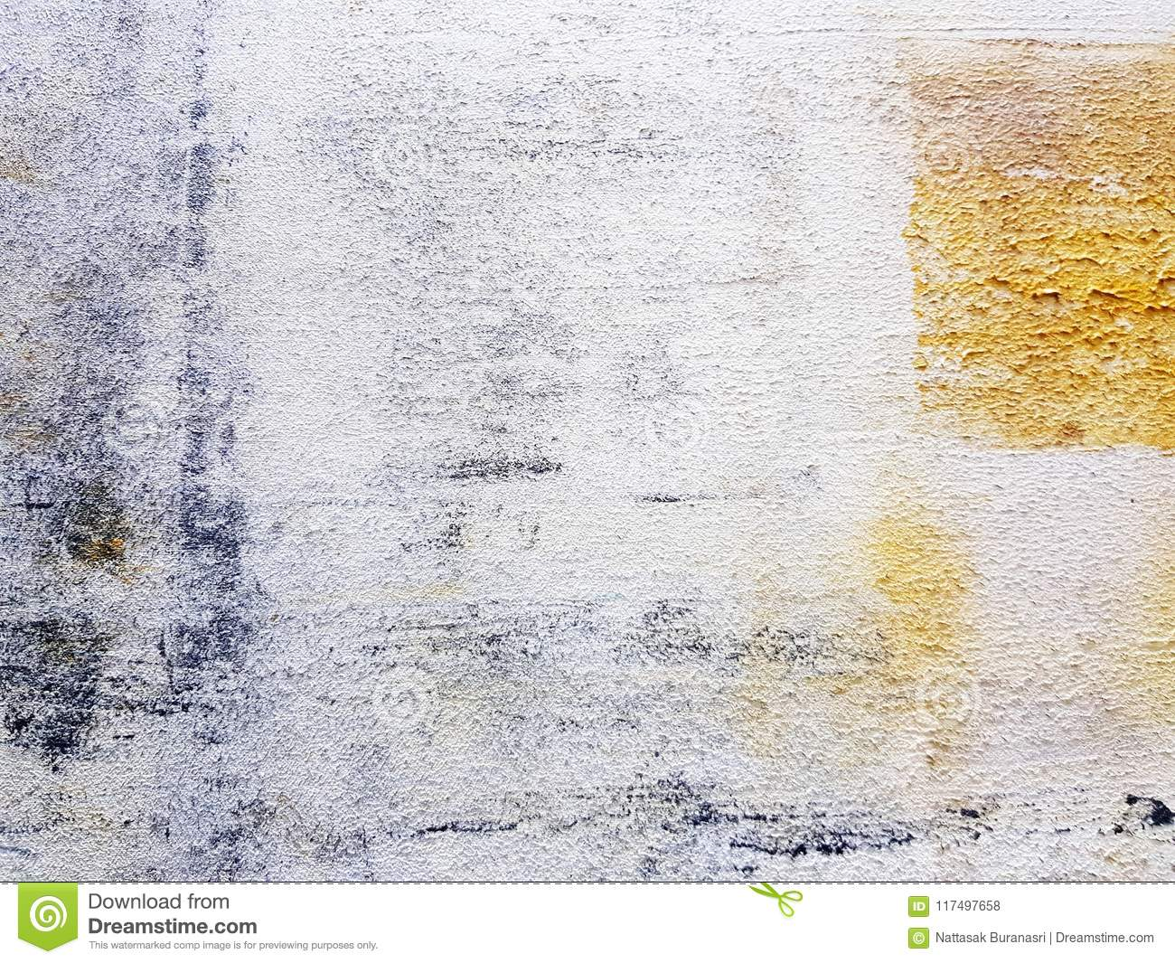 Colorful white art in acrylic Painted style on canvas frame White, Yellow, Black, brown color