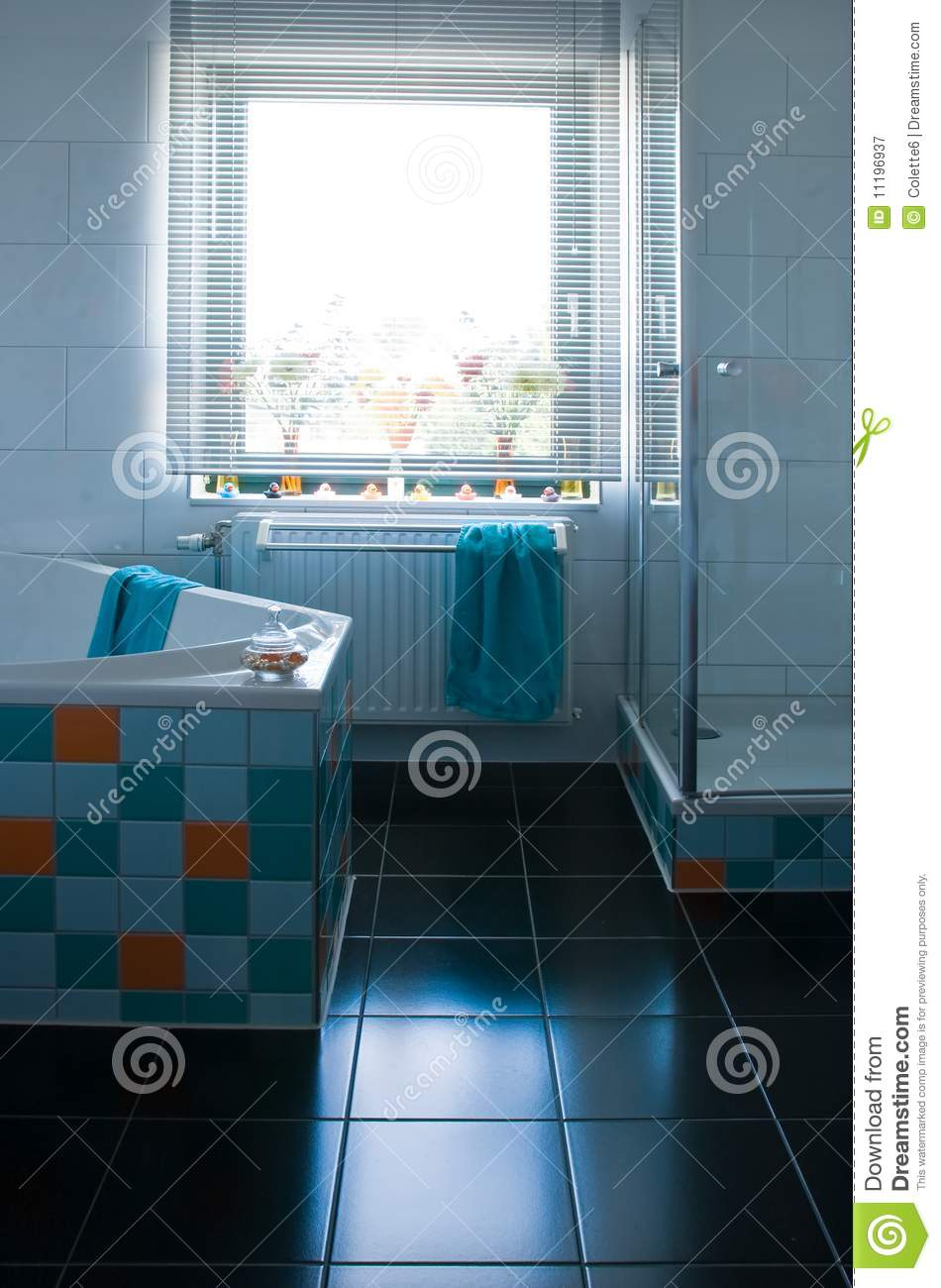 Colorful White Bathroom With Black Floor Stock Image - Image of ...