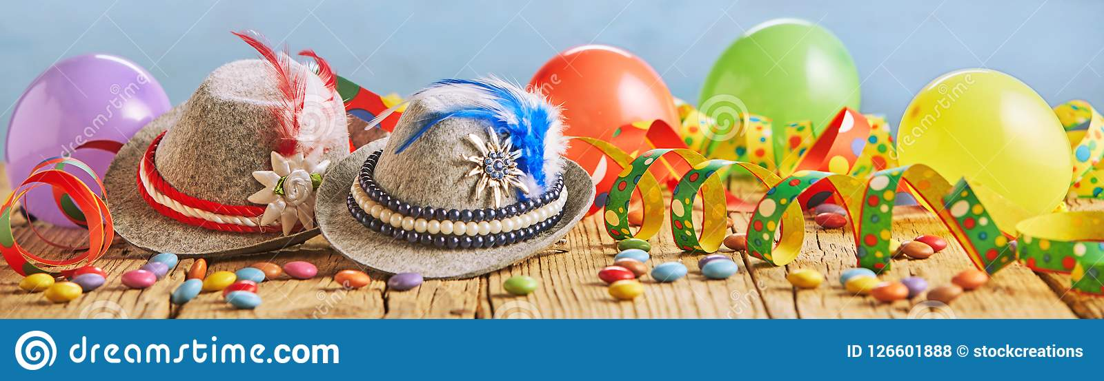 Colorful wide panorama banner with party balloons