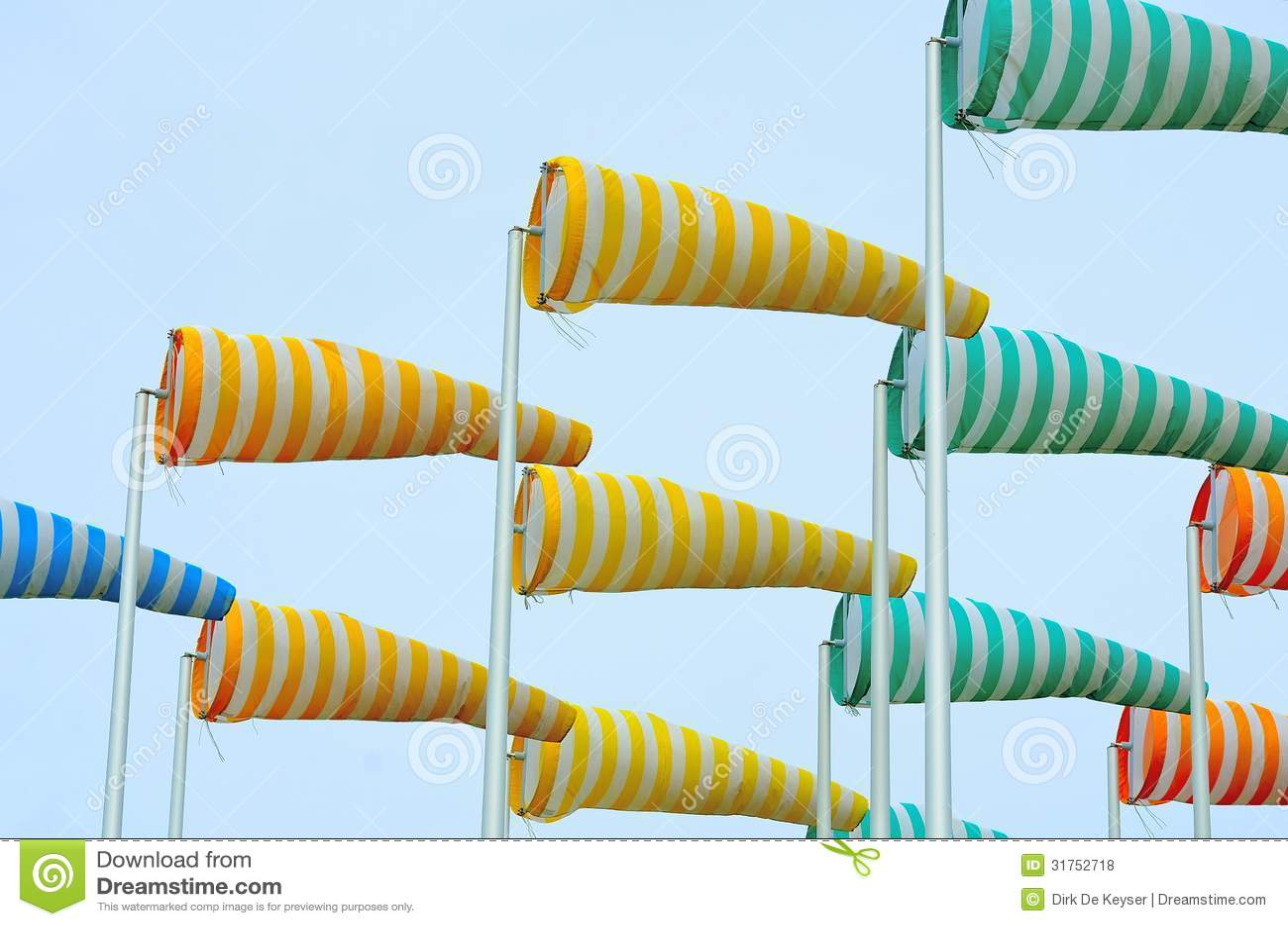 Colorful windsocks in port